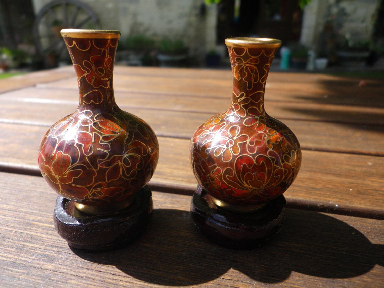 antique japanese cloisonne vases of red vase set images miniature cloisonne vase set brown enamel with within miniature cloisonne vase set brown enamel with red flowers on brass