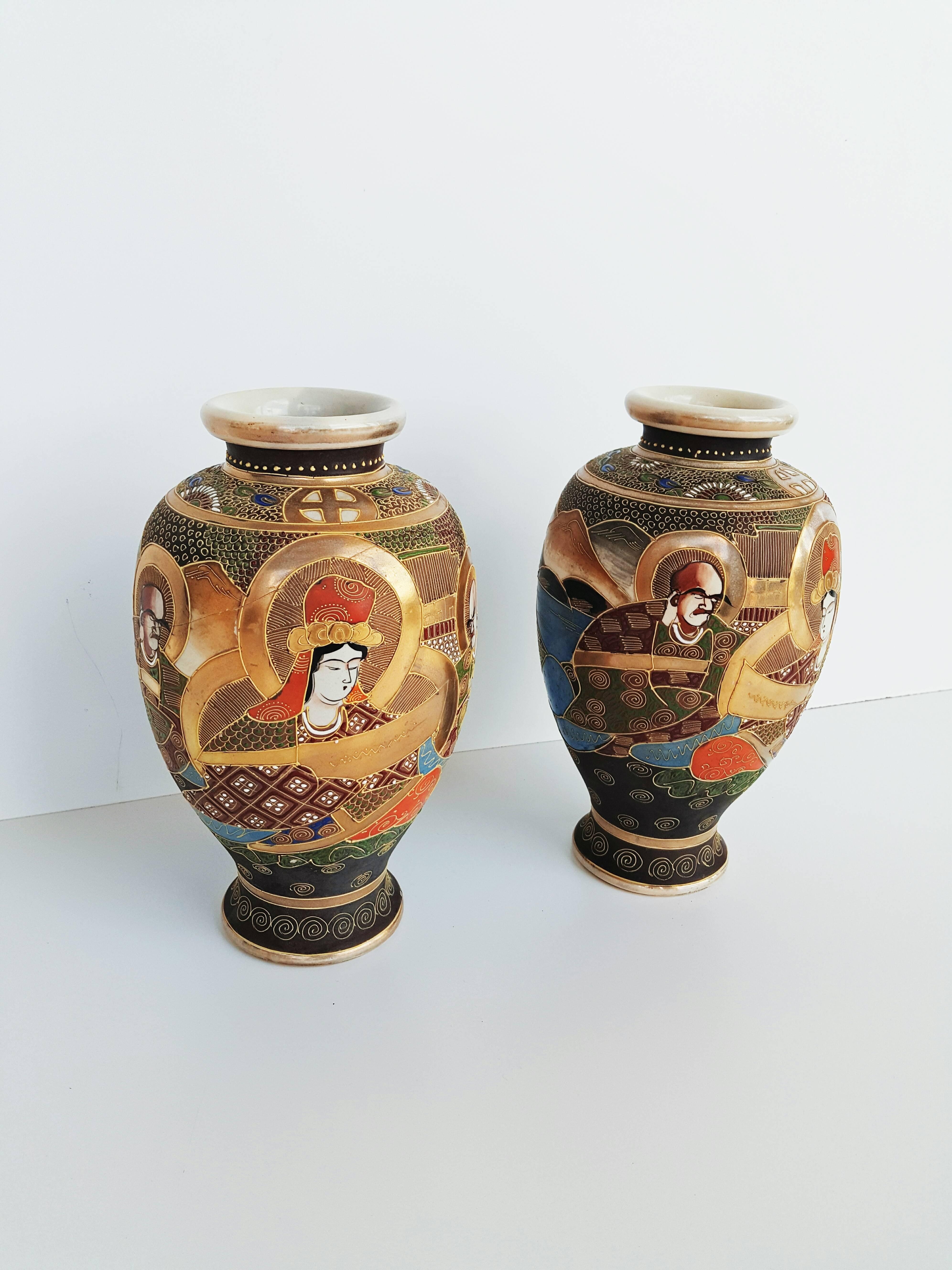 antique japanese metal vases of early 20th century pair of japanese satsuma vases in painted ceramic for early 20th century pair of japanese satsuma vases in painted ceramic for sale at 1stdibs
