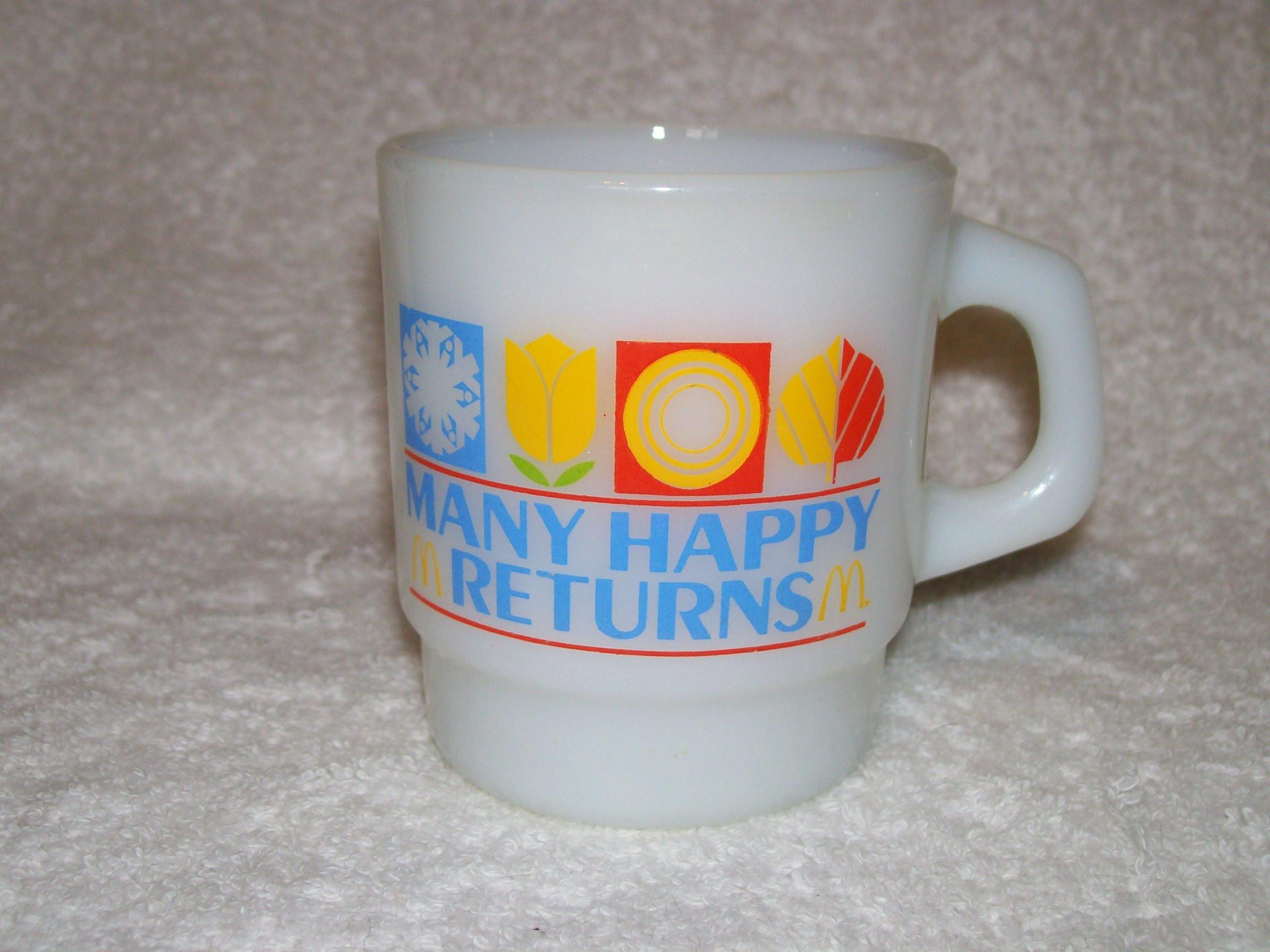 "antique milk glass vases of vintage mcdonalds many happy returns milk glass mug etsy intended for dŸ""Žzoom"