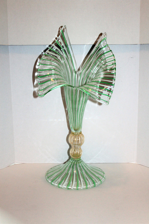 antique murano glass vase of la murrina art glass vase large 22 5 vintage striped etsy with image 0 image 1