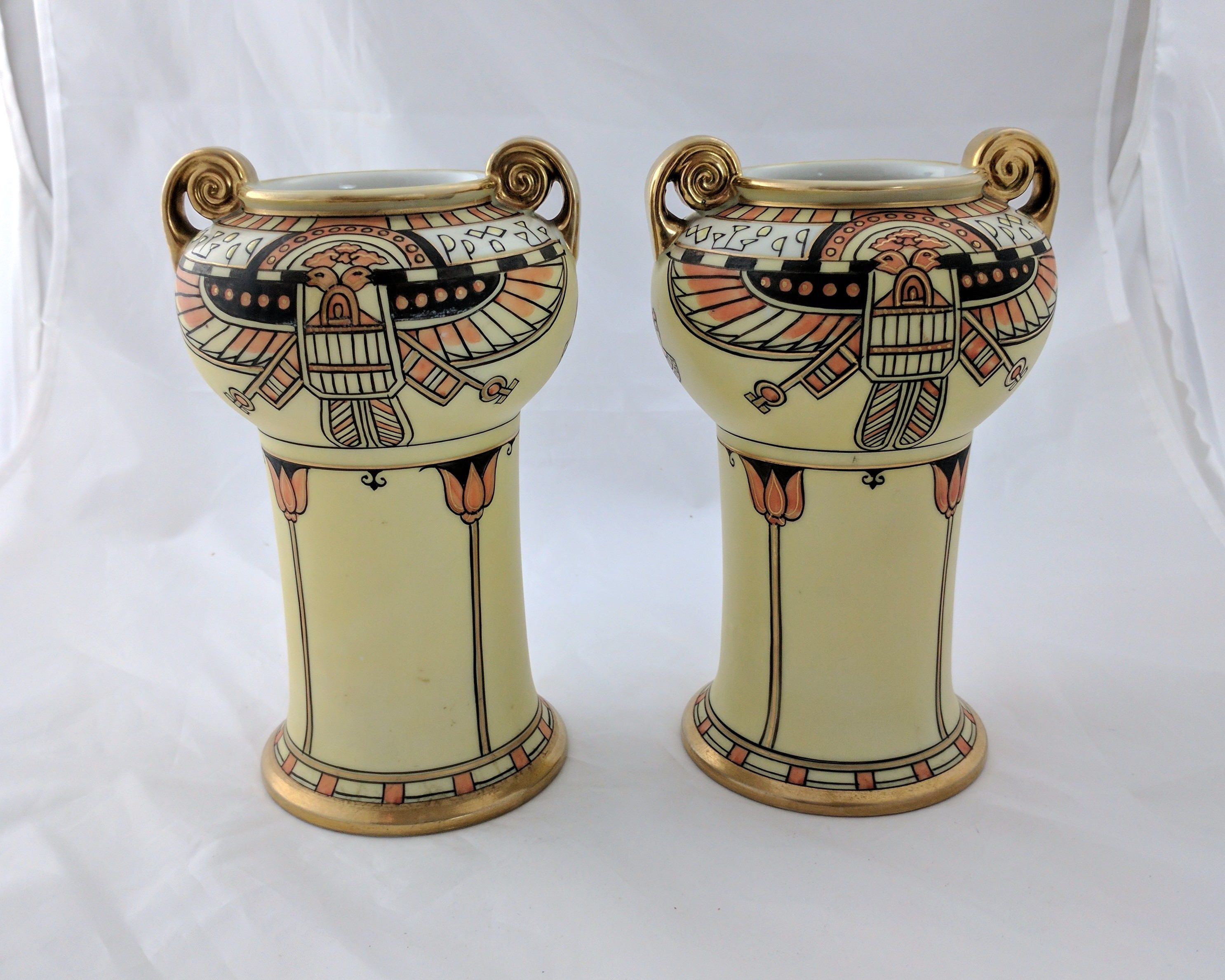 antique nippon vases of pair antique nippon egyptian revival porcelain vases hand painted regarding pair antique nippon egyptian revival porcelain vases hand painted 1911 21 by tlgvintageart
