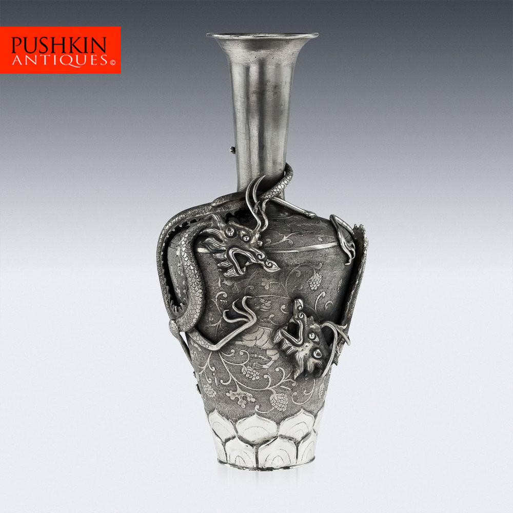 antique silver glass vase of pushkin antiques antique 19thc chinese unusual solid silver dragon inside antique 19thc chinese unusual solid silver dragon vase c 1860