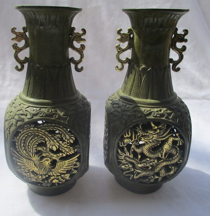 Antique Vases Hand Painted Of A… 1 Pair Of Chinese Old Bronze Gold Gilt Openwork Carved Dragon and for 1 Pair Of Chinese Old Bronze Gold Gilt Openwork Carved Dragon and Phoenix Vase asian Antiques Tabletop Vase