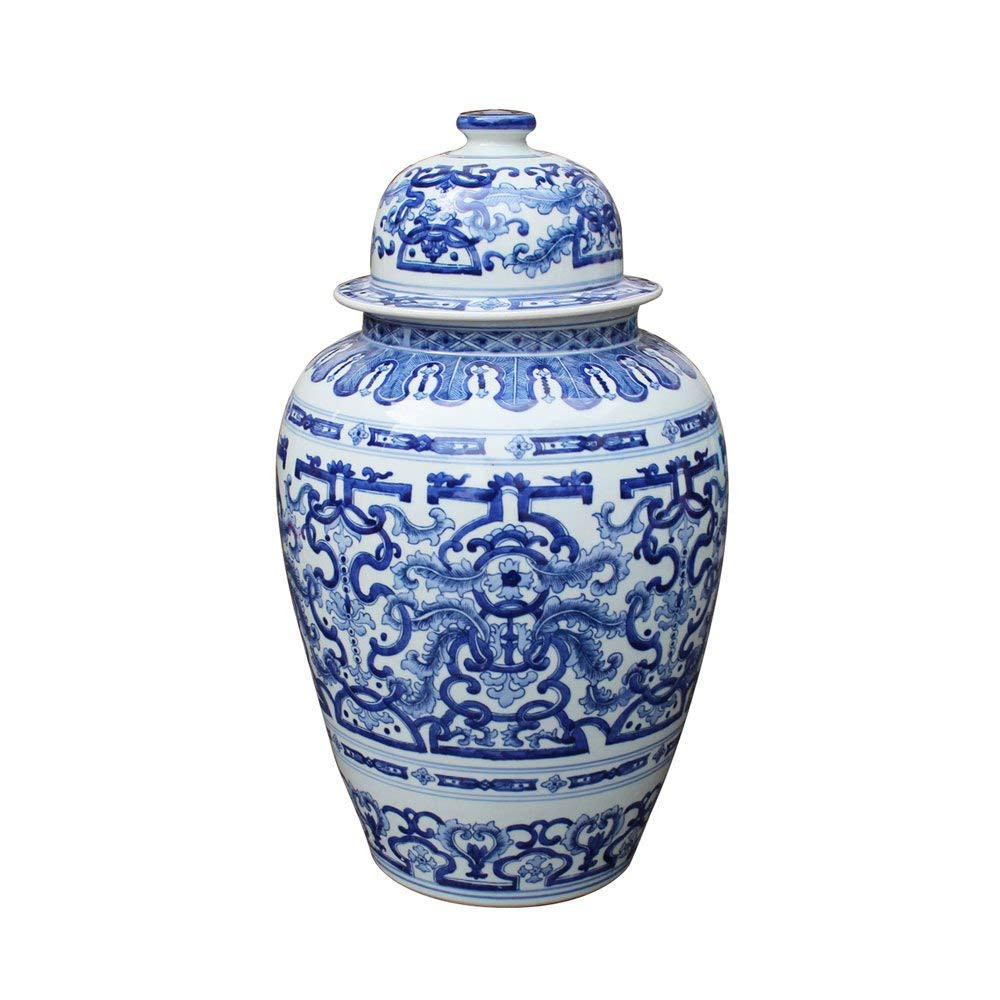 antique white porcelain vases of amazon com blue white large porcelain tozai temple jar ginger jar with regard to amazon com blue white large porcelain tozai temple jar ginger jar 21 tall home kitchen