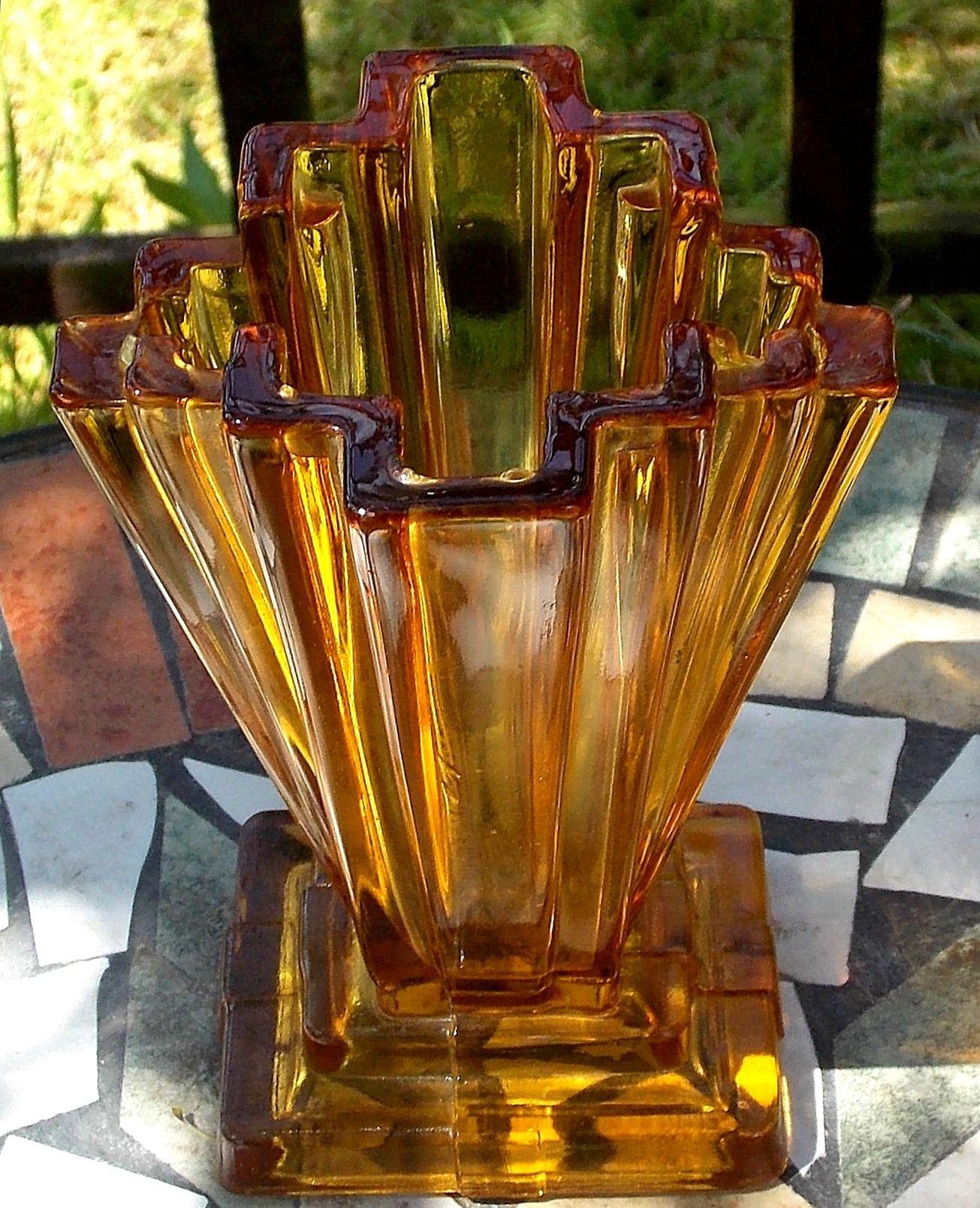 art deco crystal vase of art deco bagley winged vase in amber glass pattern 334 named with regard to art deco bagley winged vase in amber glass pattern 334 named grantham fantastic art