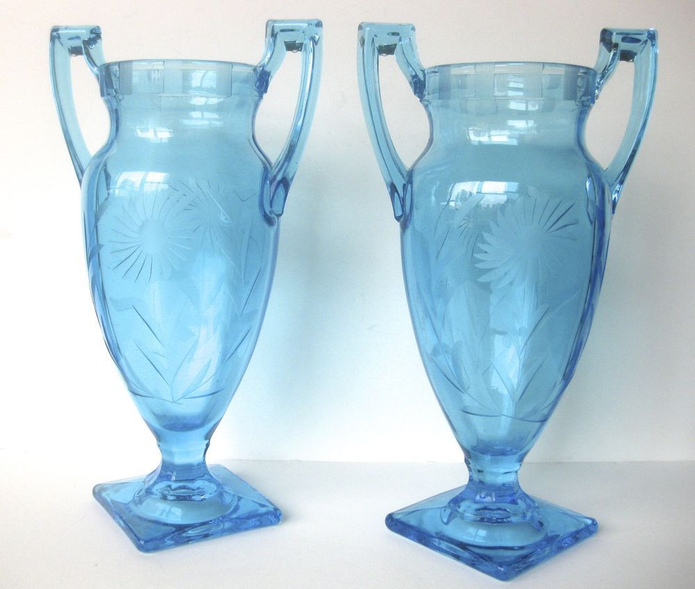 art deco glass vases for sale of pair of art deco hand etched turquoise glass vases decor intended for pair of art deco hand etched turquoise glass vases