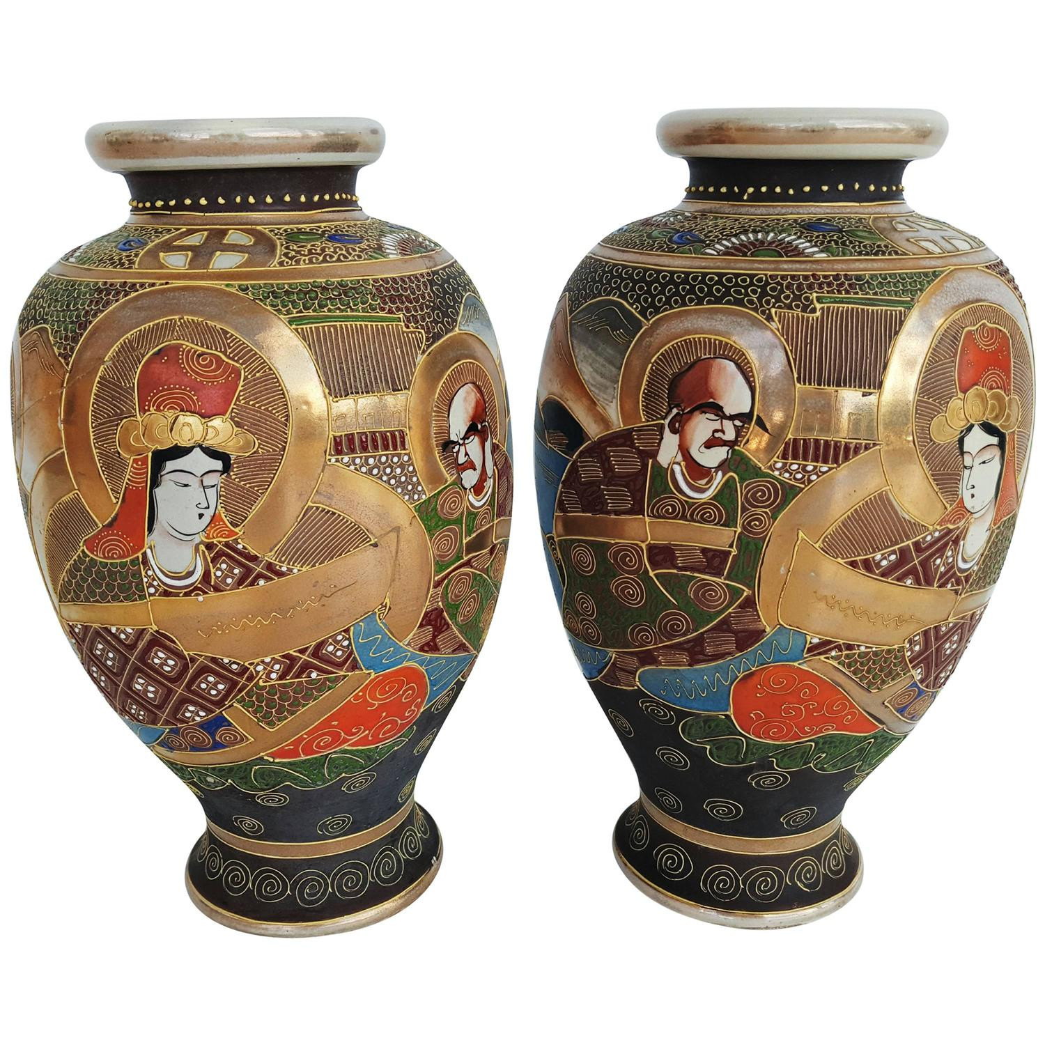 Art Deco Vases Antique Of Early 20th Century Pair Of Japanese Satsuma Vases In Painted Ceramic within Early 20th Century Pair Of Japanese Satsuma Vases In Painted Ceramic for Sale at 1stdibs