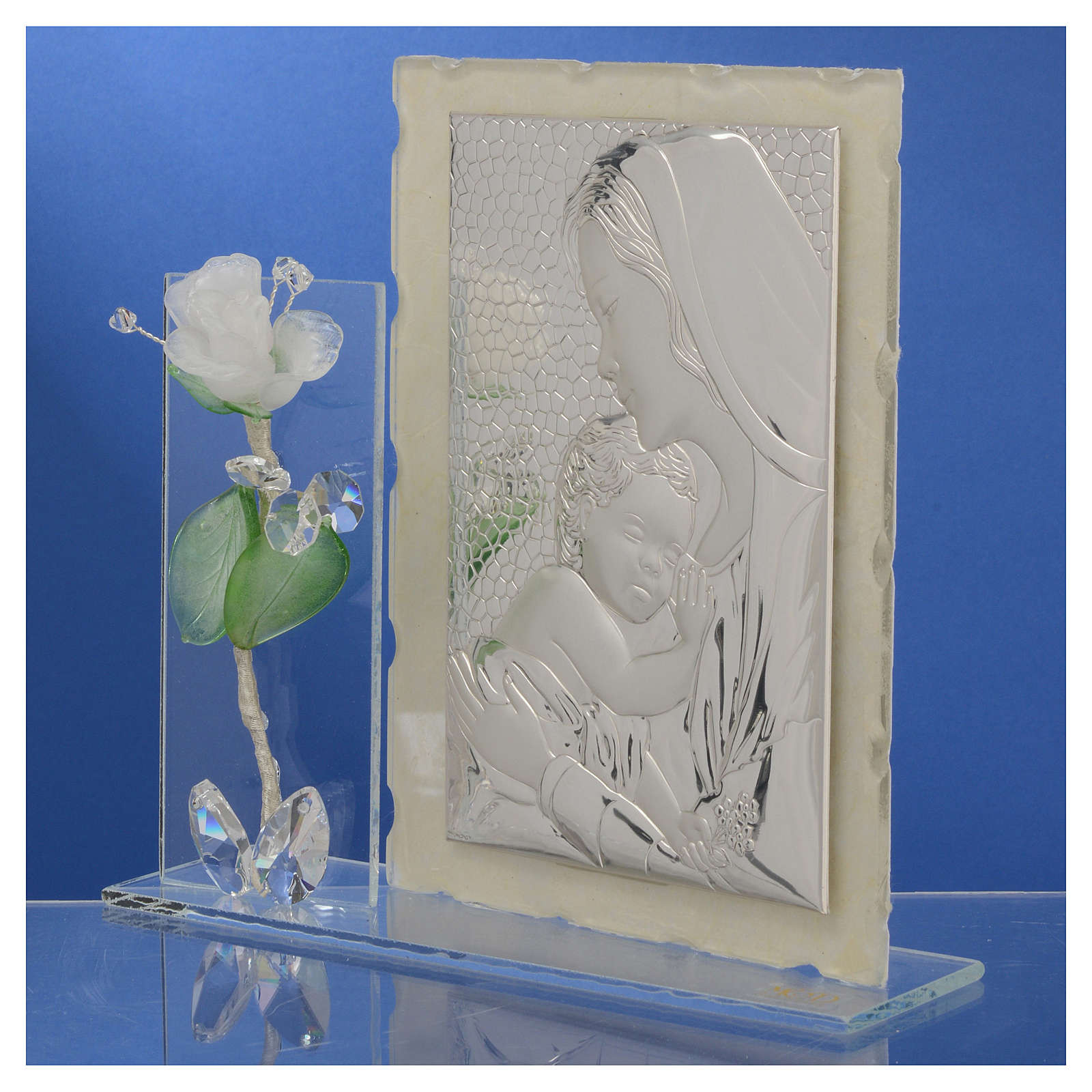 arte murano vase of maternity favour with white rose in murano glass and silver 11x17cm throughout maternity favour with white rose in murano glass and silver 11x17cm 3