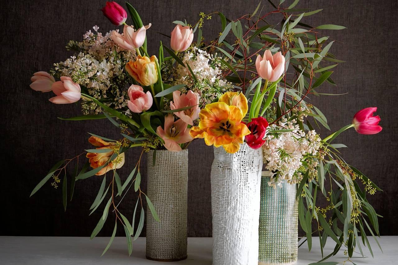 artificial flower arrangements in glass vases of a flower arrangement inspired by gerhard richter wsj in od bg047 flower m 20150416154024