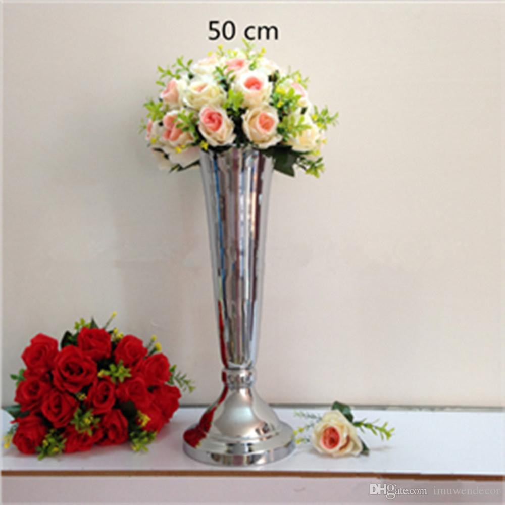 Artificial Flowers In Black Vase Of Silver Gold Plated Metal Table Vase Wedding Centerpiece event Road within Silver Gold Plated Metal Table Vase Wedding Centerpiece event Road Lead Flower Rack Home Decoration