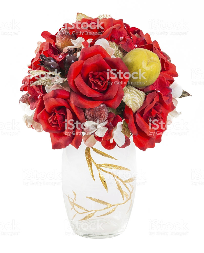 artificial flowers in clear vases of bouquet od red roses and berry in glass vase stock photo more within bouquet od red roses and berry in glass vase royalty free stock photo