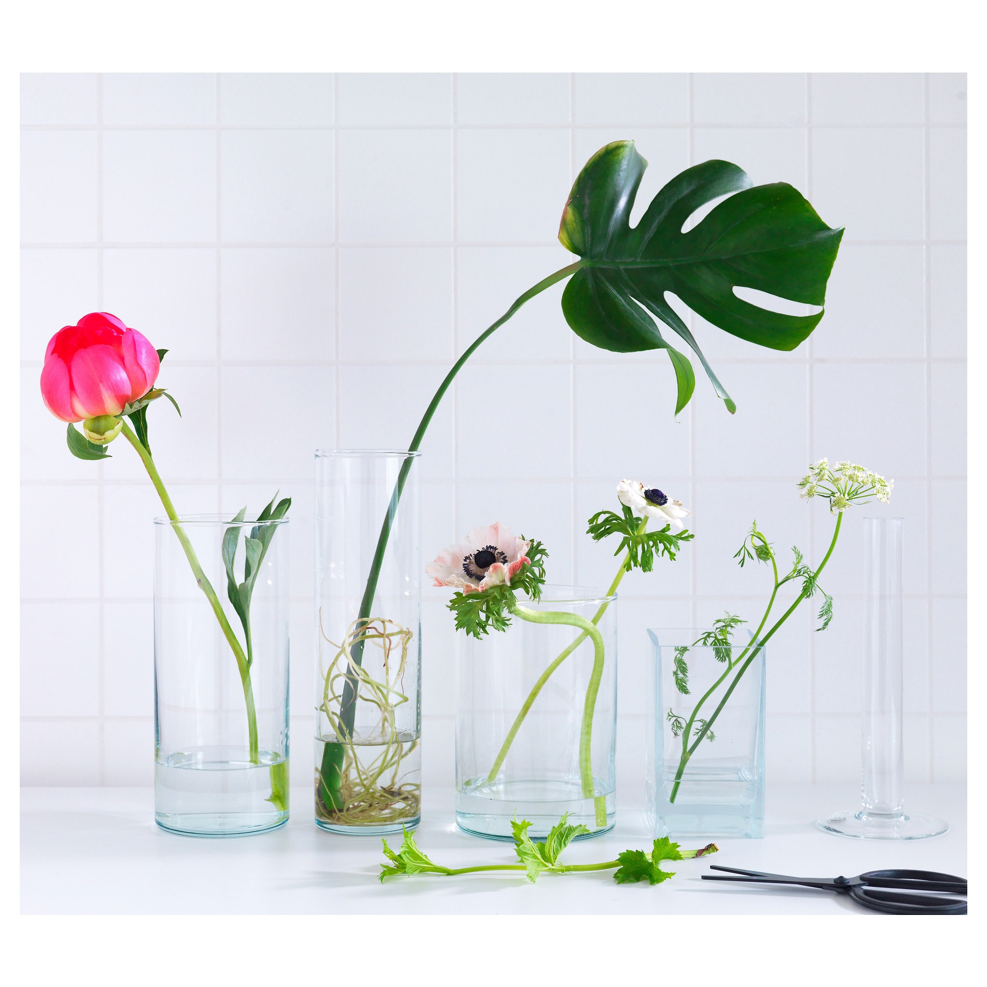 Artificial Flowers In Clear Vases Of Cylinder Vase Set Of 3 Ikea Inside 0392618 Pe560406 S5 Jpg