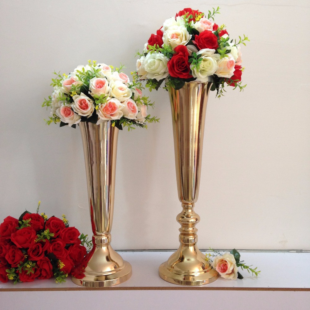 artificial flowers in vase large of a—'10pcs lot gold wedding table centerpiece 49cm 19 3inch tall within 10pcs lot gold wedding table centerpiece 49cm 19 3inch tall wedding party road lead table flower vase wedding decoration
