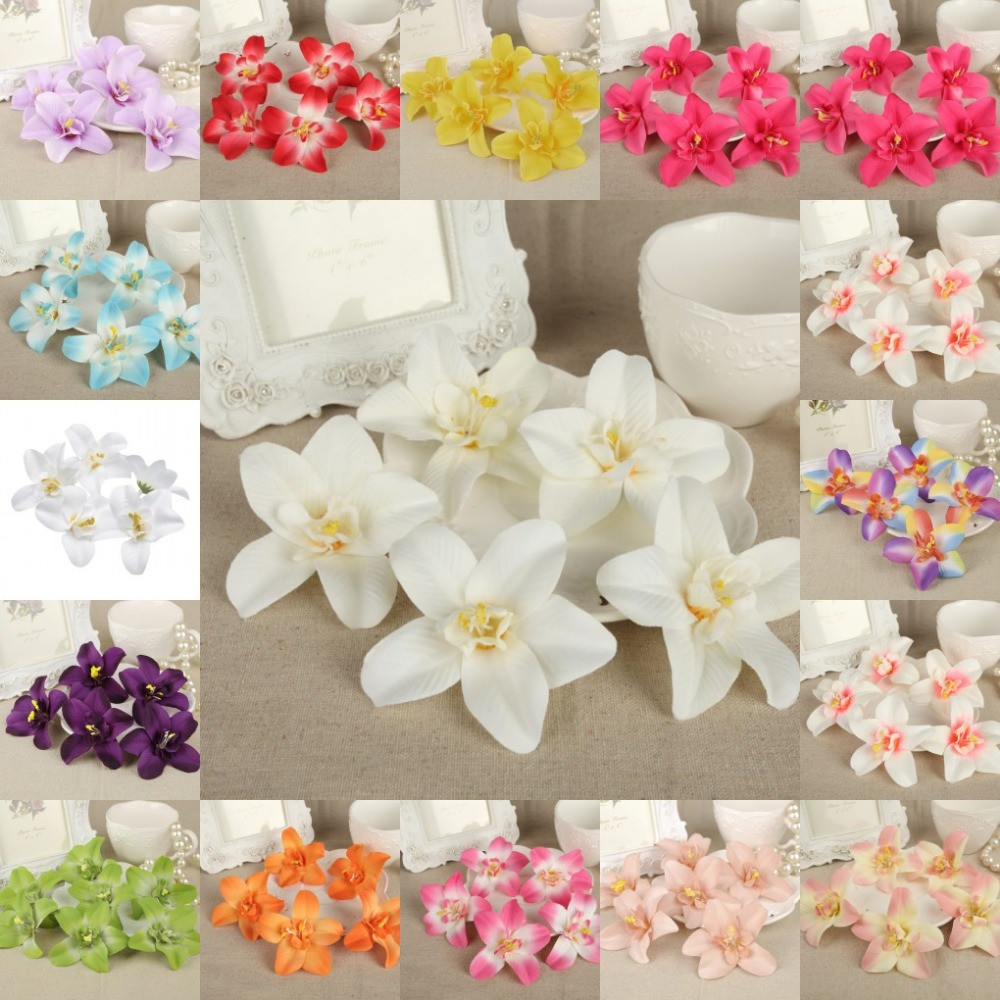 artificial lily flowers in vase of a'diy 100pcs 8cm flower heads artificial silk cattleya lily flower with diy 100pcs 8cm flower heads artificial silk cattleya lily flower party wedding favors home decor