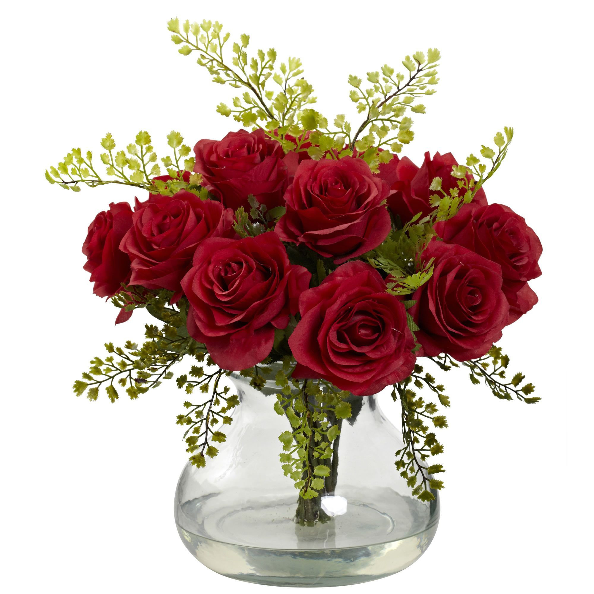 artificial roses in vase of rose and maiden hair floral arrangement with vase valentines with rose and maiden hair floral arrangement with vase