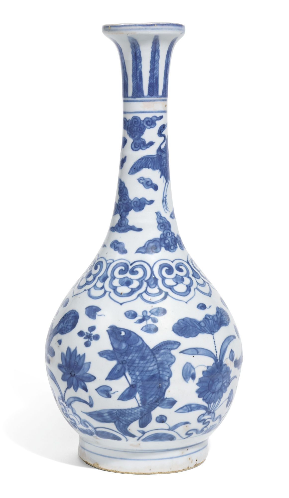 Asian Porcelain Vases Of A Blue and White Bottle Vase Ming Dynasty Jiajing Wanli Period with Regard to A Blue and White Bottle Vase Ming Dynasty Jiajing Wanli Period