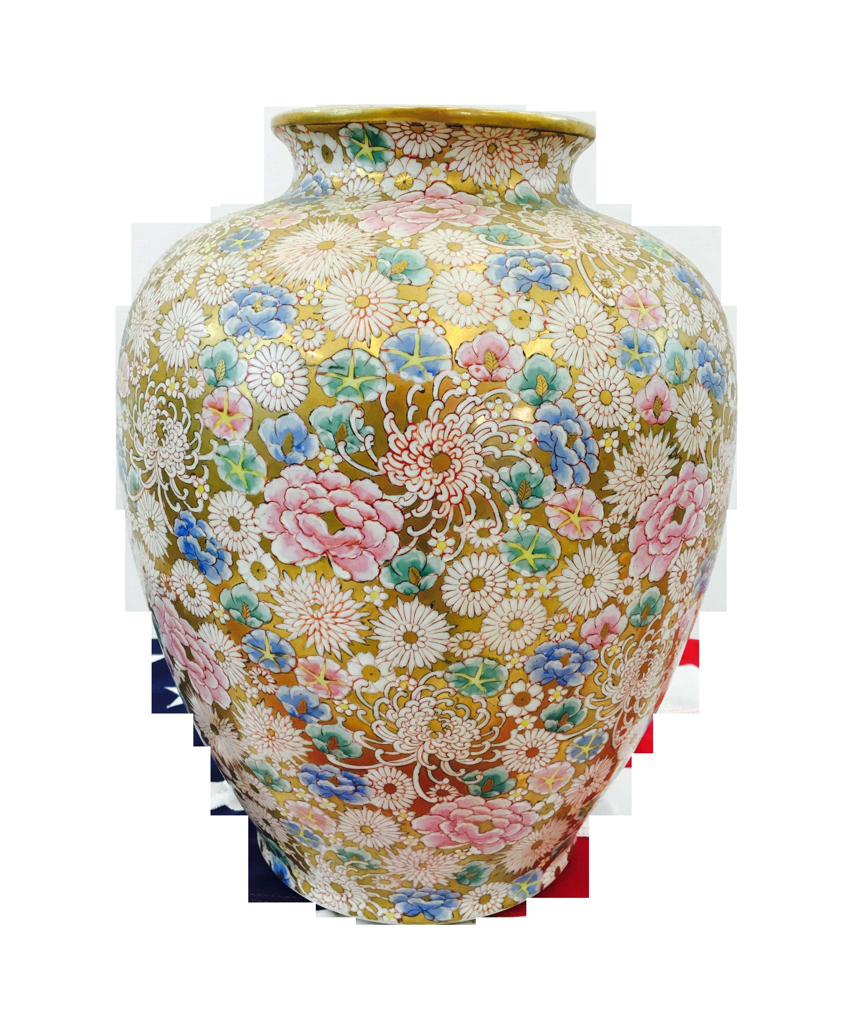 asian porcelain vases of vintage signed floral asian ginger jar or vase oriental design and within vintage signed floral asian ginger jar or vase on chairish com
