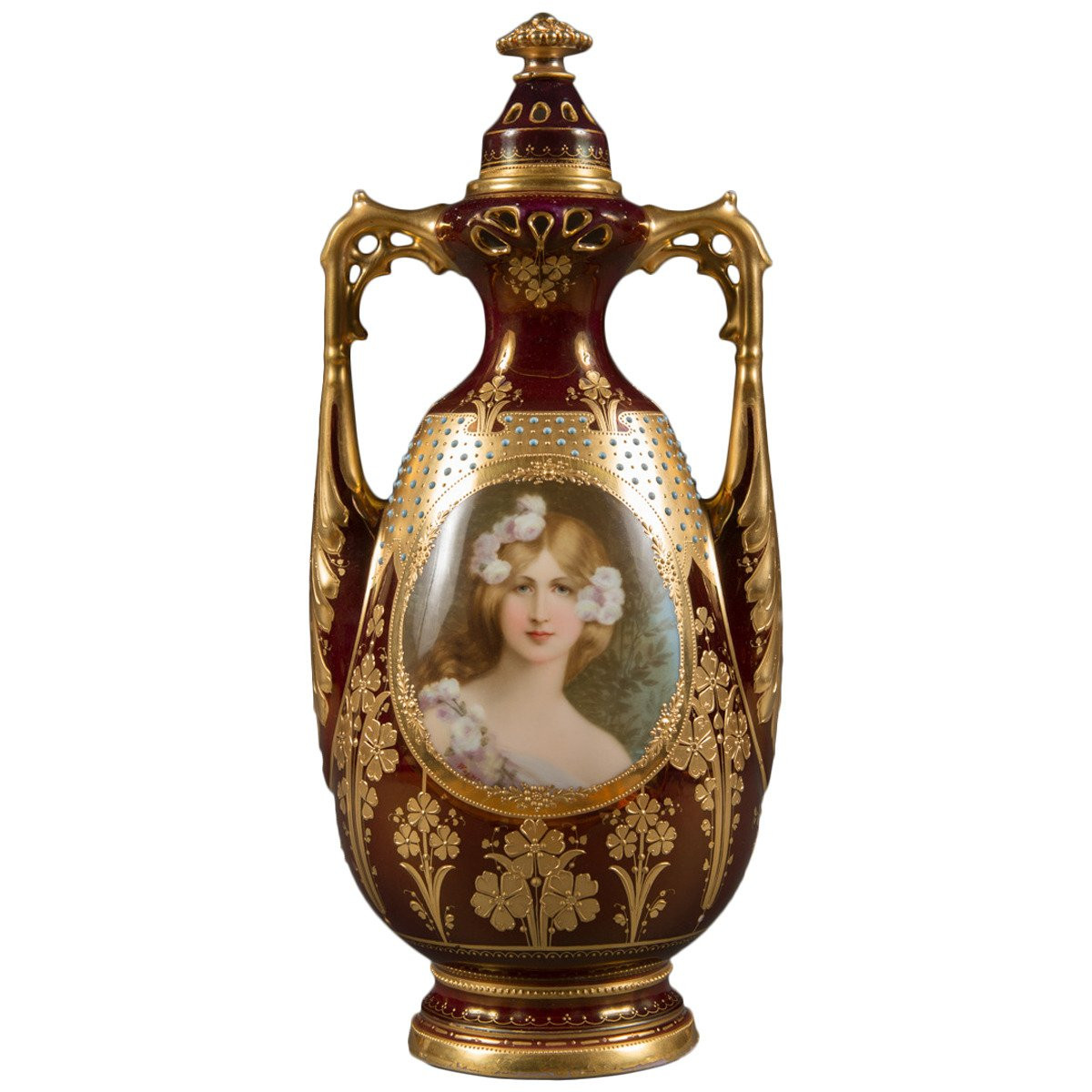 austrian vases markings of austrian porcelain antique vase and cover by royal vienna at 1stdibs for austrian royal vienna porcelain jeweled iridescent portrait vase circa 1900