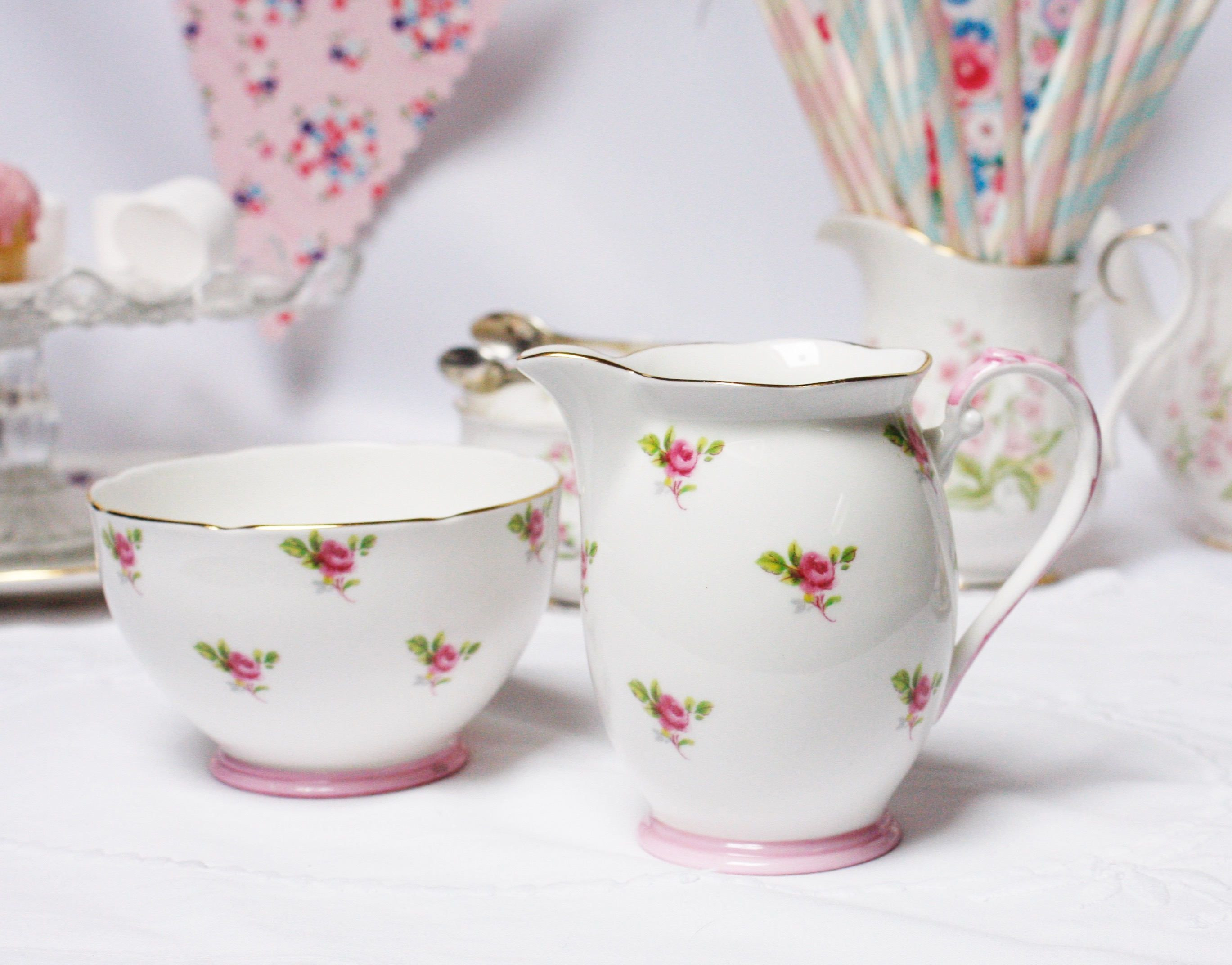 Aynsley China Cottage Garden Vase Of Ditsy Rose Grafton English Bone China Classic Creamer Milk Jug Regarding Ditsy Rose Grafton English Bone China Classic Creamer Milk Jug and Sugar Bowl