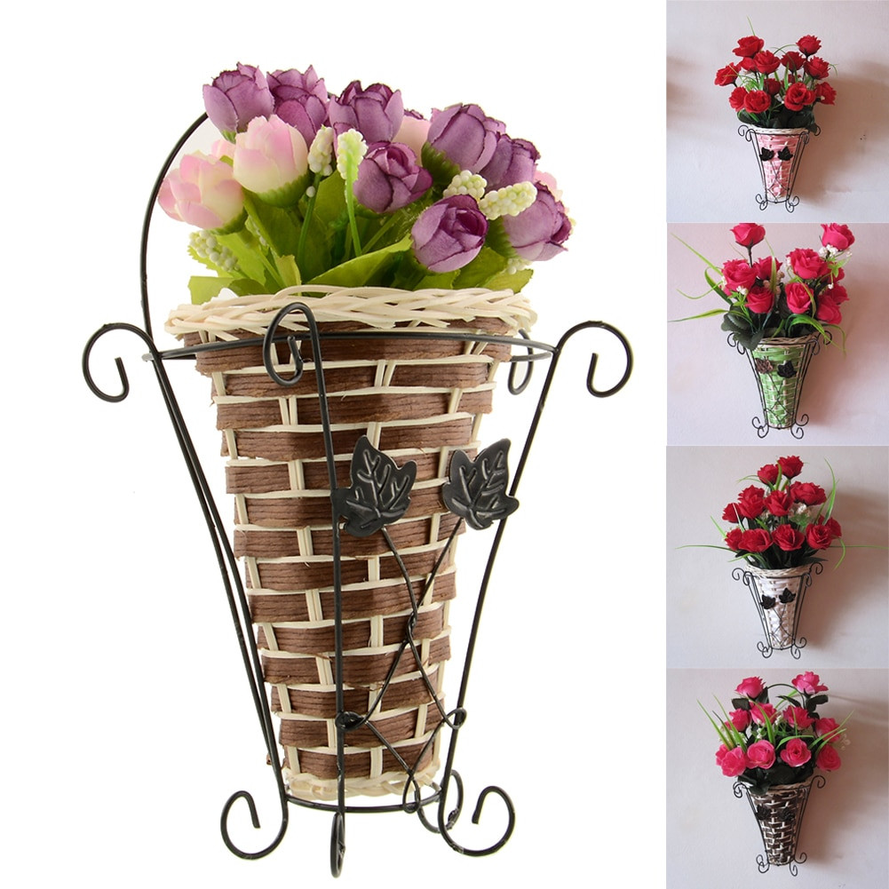 bamboo flower vase of aliexpress com buy weave vine mural wall hanging flower basker with aliexpress com buy weave vine mural wall hanging flower basker artificial flower plant ivy vase flower arrangment container weeding home decor from