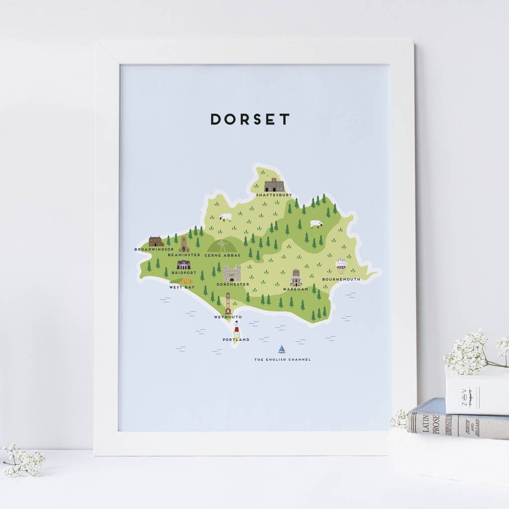 bay vase west germany of map of dorset print by pepper pot studios notonthehighstreet com pertaining to map of dorset print