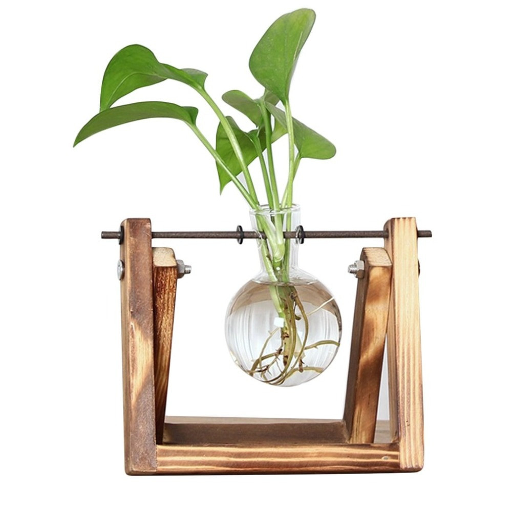 beaker flower vase of aliexpress com buy bulb vase with retro solid wooden stand and within aliexpress com buy bulb vase with retro solid wooden stand and metal swivel holder for hydroponics plants desktop glass planter home office decor from