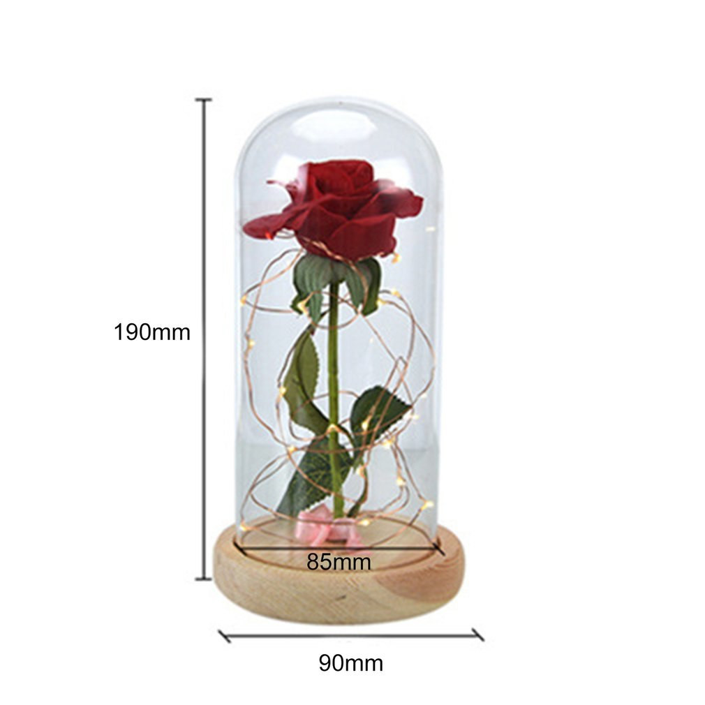 bell jar vase of rose led night lamp string light in a glass dome wooden base pertaining to rose led night lamp string light in a glass dome wooden base valentines day gifts room decor battery powered drop shipping in led night lights from lights