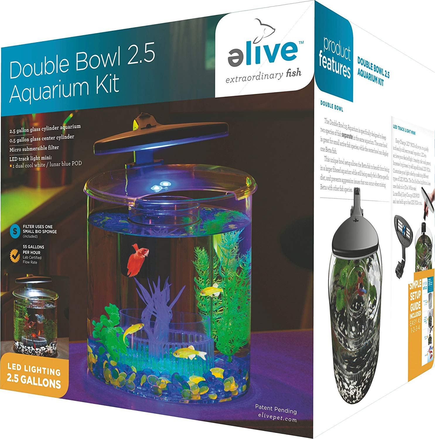 betta fish plant vase of amazon com elive double bowl aquarium kit 2 5 gallon betta for amazon com elive double bowl aquarium kit 2 5 gallon betta aquarium with filter and fish tank led track light pet supplies