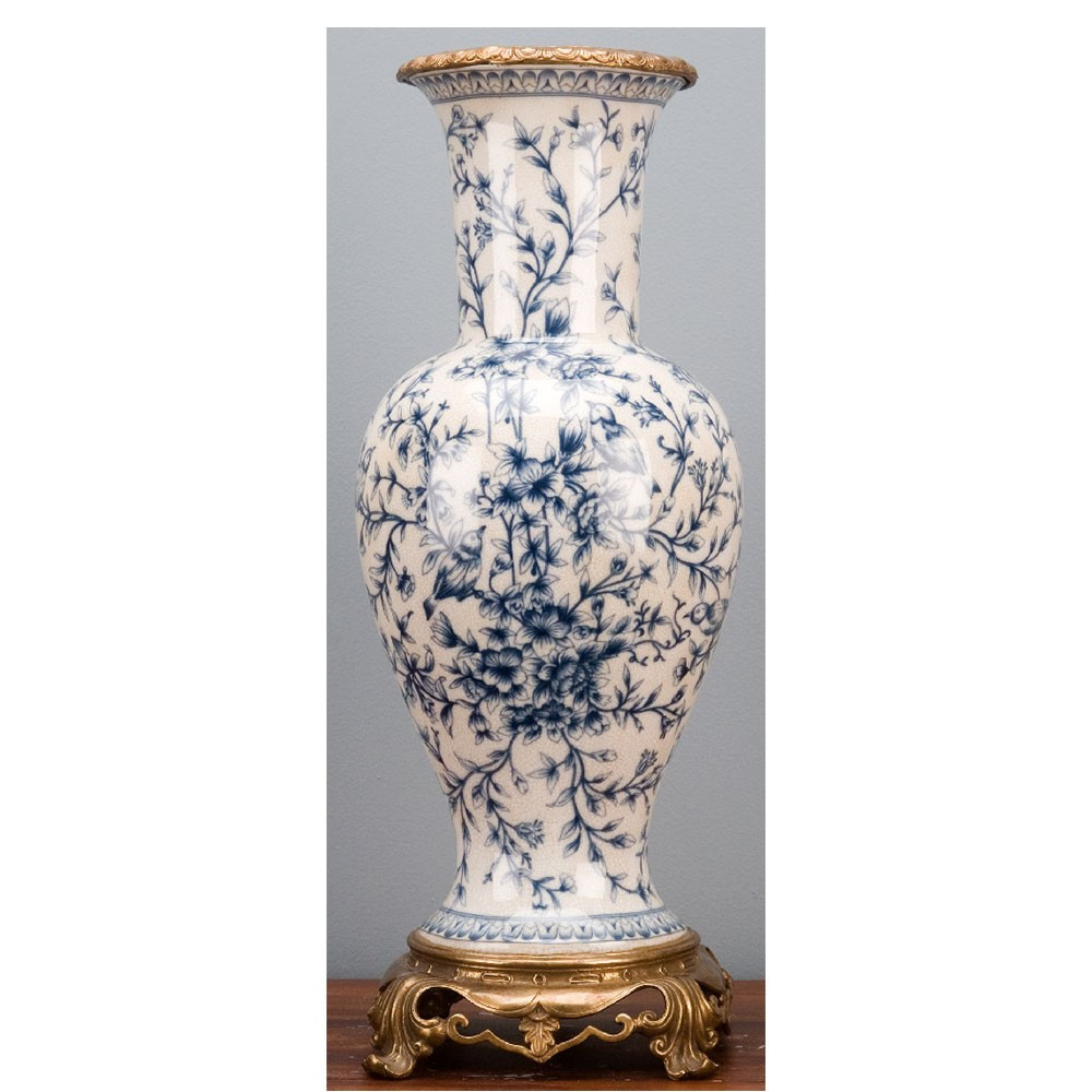 Blue and White Ceramic Vase Of Blue White Porcelain Vase Bronze ormolu Brass Burl 14117 Pertaining to Blue White Porcelain Vase ormolu