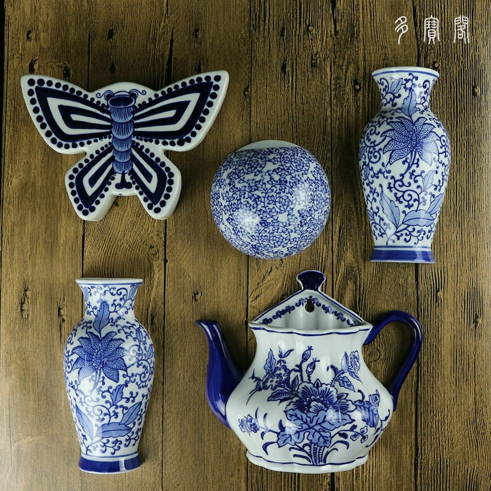 blue and white ceramic vase of jingdezhen ceramics painted blue and white flower bottle hanging inside jingdezhen ceramics painted blue and white flower bottle hanging wall decorative pendant ornaments wall vase half bottle in vases from home garden on