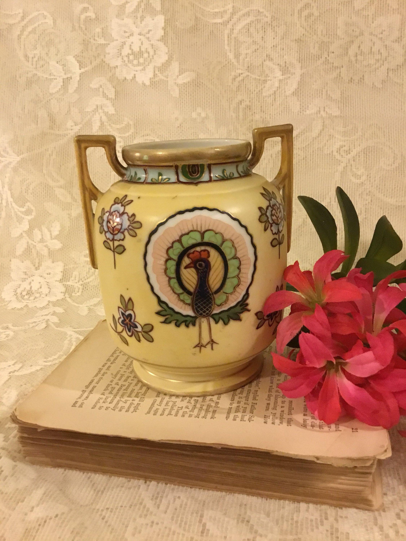 "blue and white floral ceramic vase of antique nippon peacock vase rare hand painted porcelain etsy inside dŸ""Žzoom"