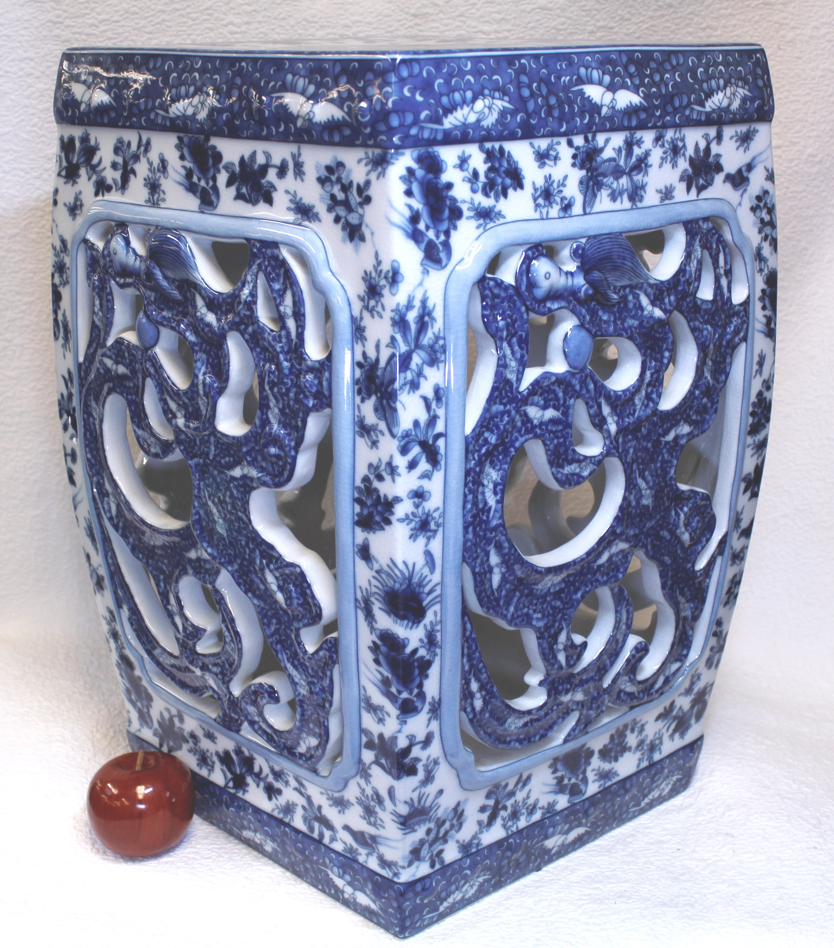 blue and white jars and vases of blue and white dragon porcelain garden seat 22 in quick view
