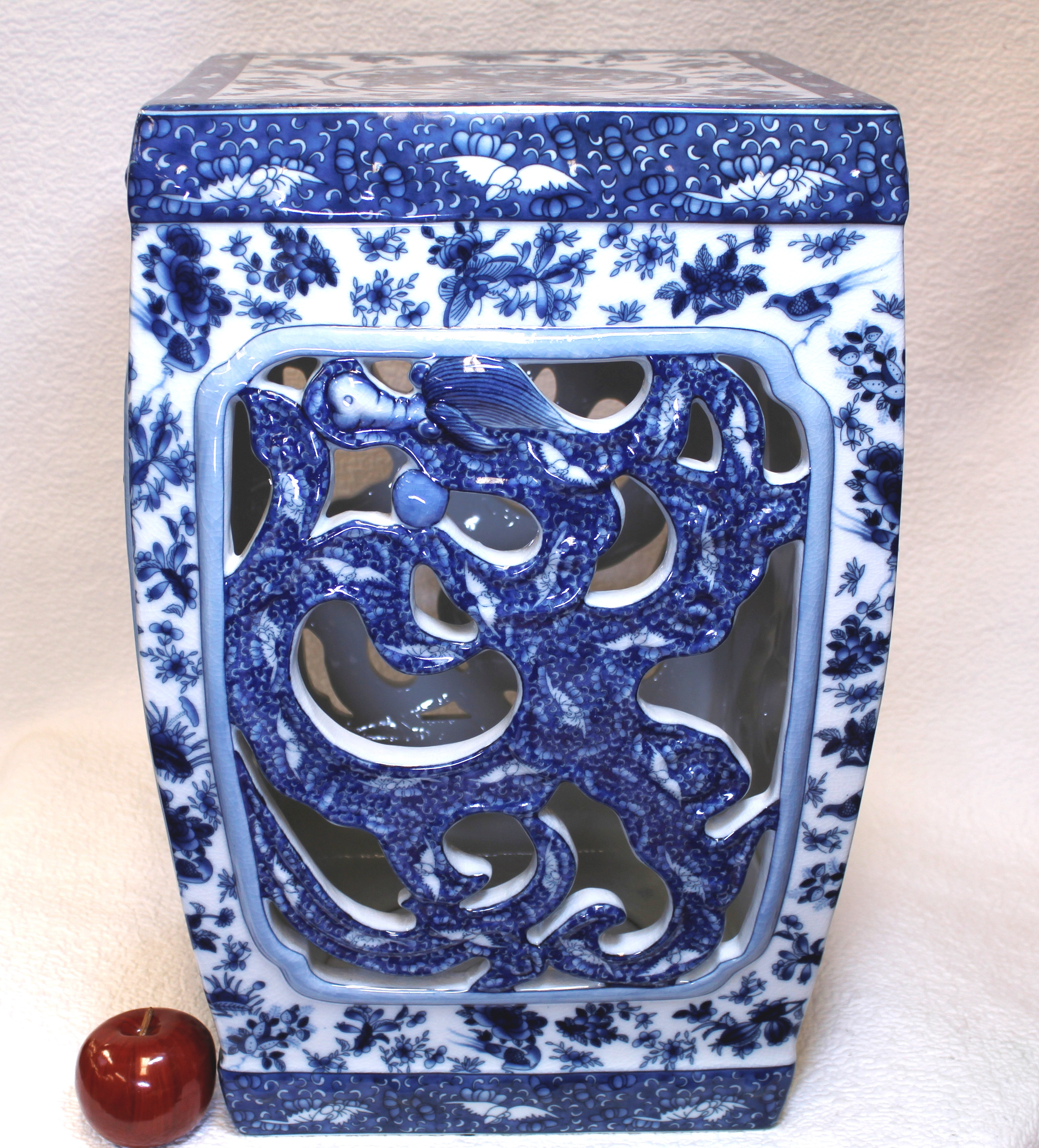 blue and white porcelain vases for sale of blue and white dragon porcelain garden seat 22 for a beautiful and unusual chinese porcelain garden seat painted with blue dragon cut outs this bea