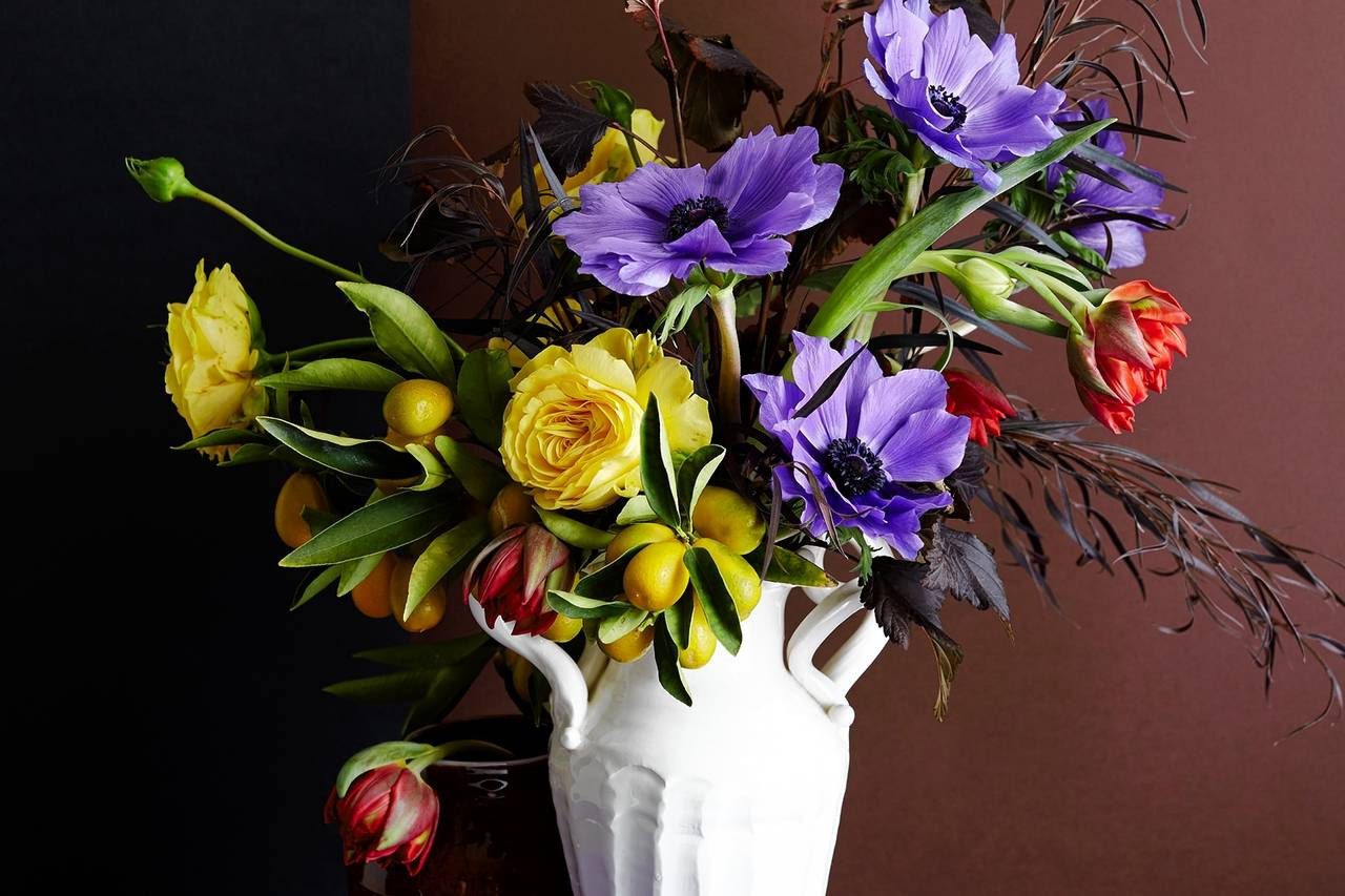 blue and white striped vase of a floral arrangement inspired by picasso wsj intended for od bj197 flower m 20160201114325