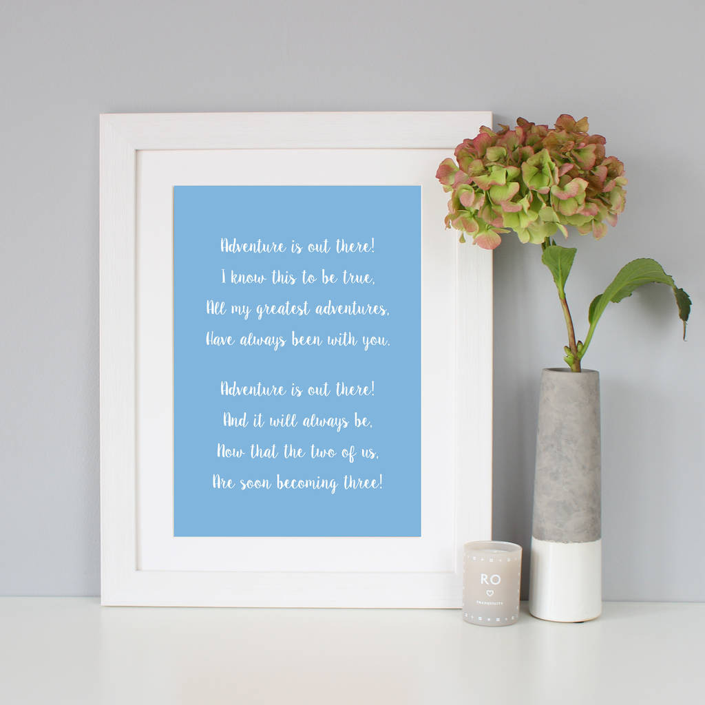 Blue and White Vase Prints Of Personalised Script Font Print by Hope and Love Notonthehighstreet Com for Light Blue Background with White Frame