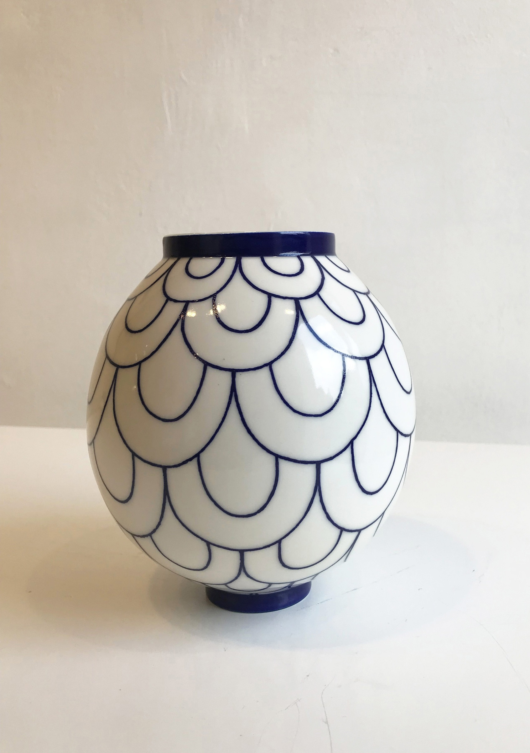 Blue and White Vases and Urns Of Rhian Malin Double Scallop Moon Jar Large Sarah Wiseman Gallery with Regard to Double Scallop Moon Jar Large