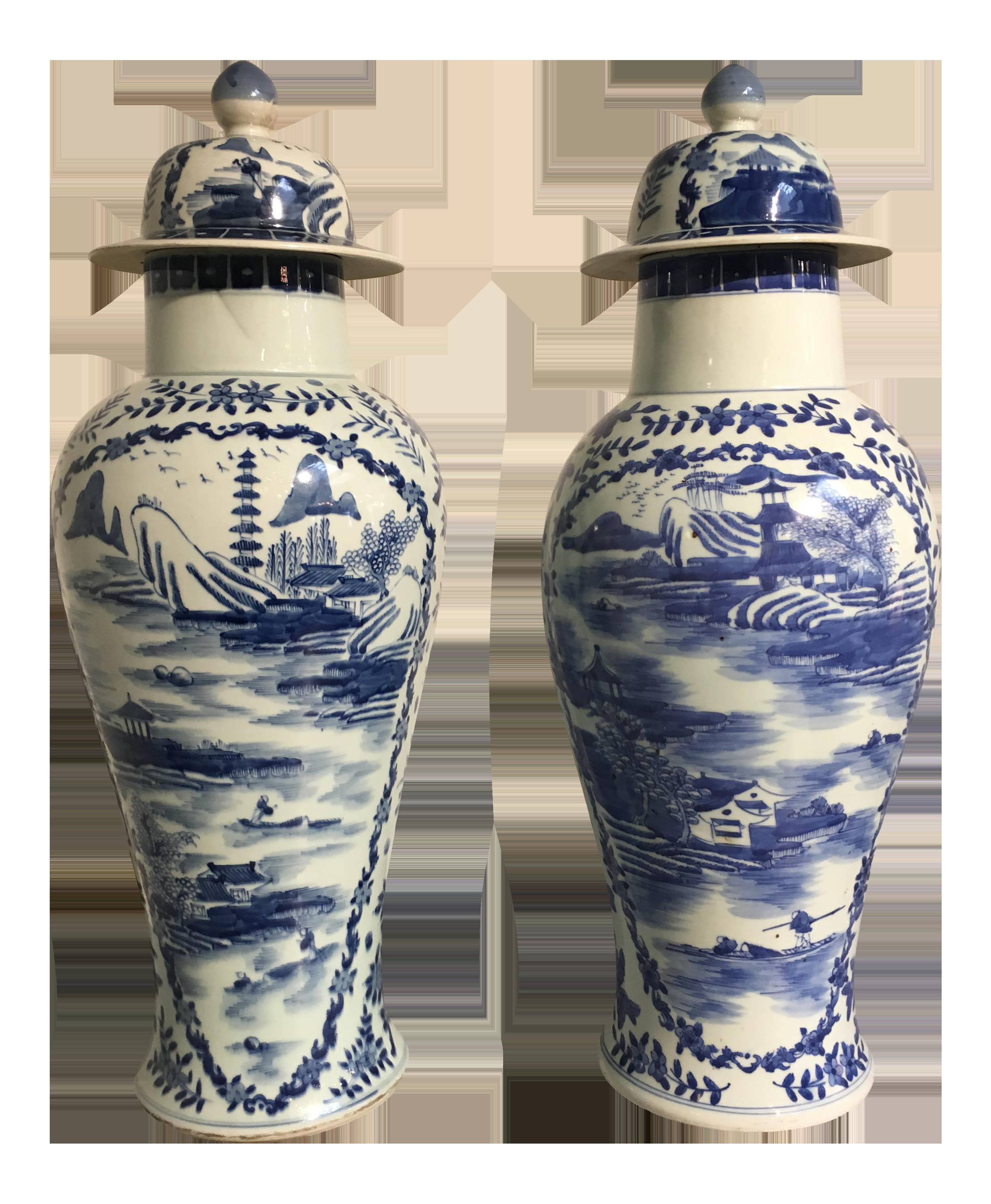 blue and white vases and urns of world class chinese tall blue and white baluster covered porcelain throughout world class chinese tall blue and white baluster covered porcelain vases circa 1900 a pair decaso