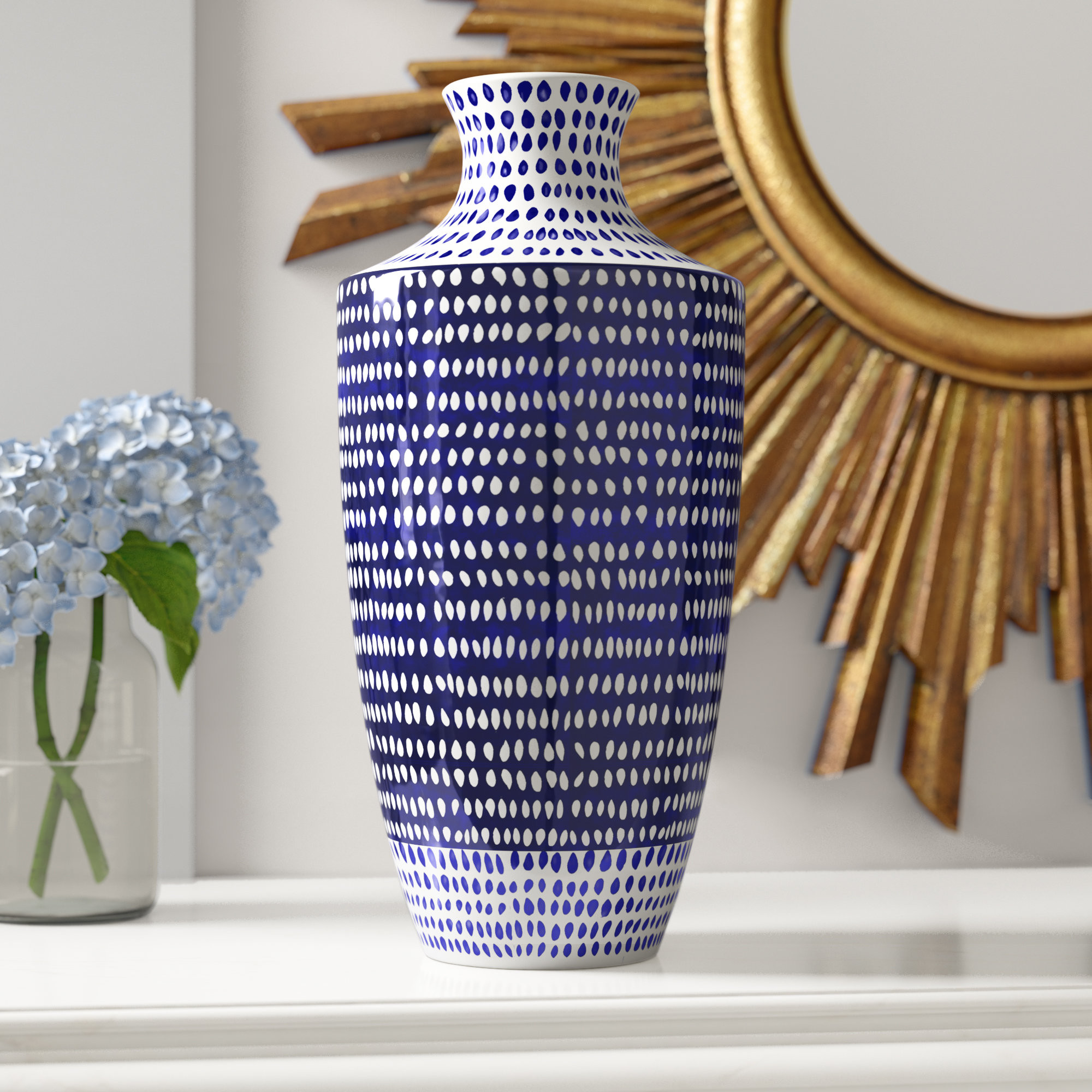 blue and white vases and urns of world menagerie eclectic ceramic table vase reviews wayfair intended for eclectic ceramic table vase