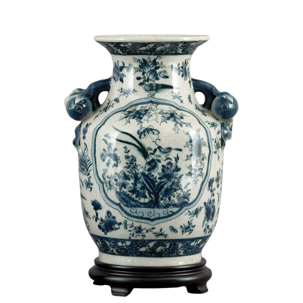 Blue Ceramic Vases Sale Of Chinoiserie Vase Brass Burl 10794 Throughout Od 10794 1