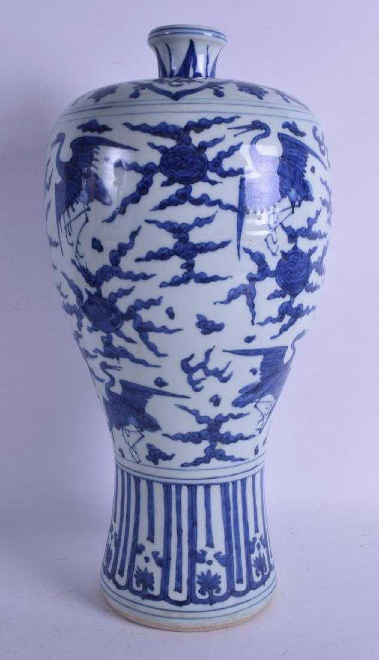 blue chinese porcelain vase of large chinese blue and white meiping vase with 45 3