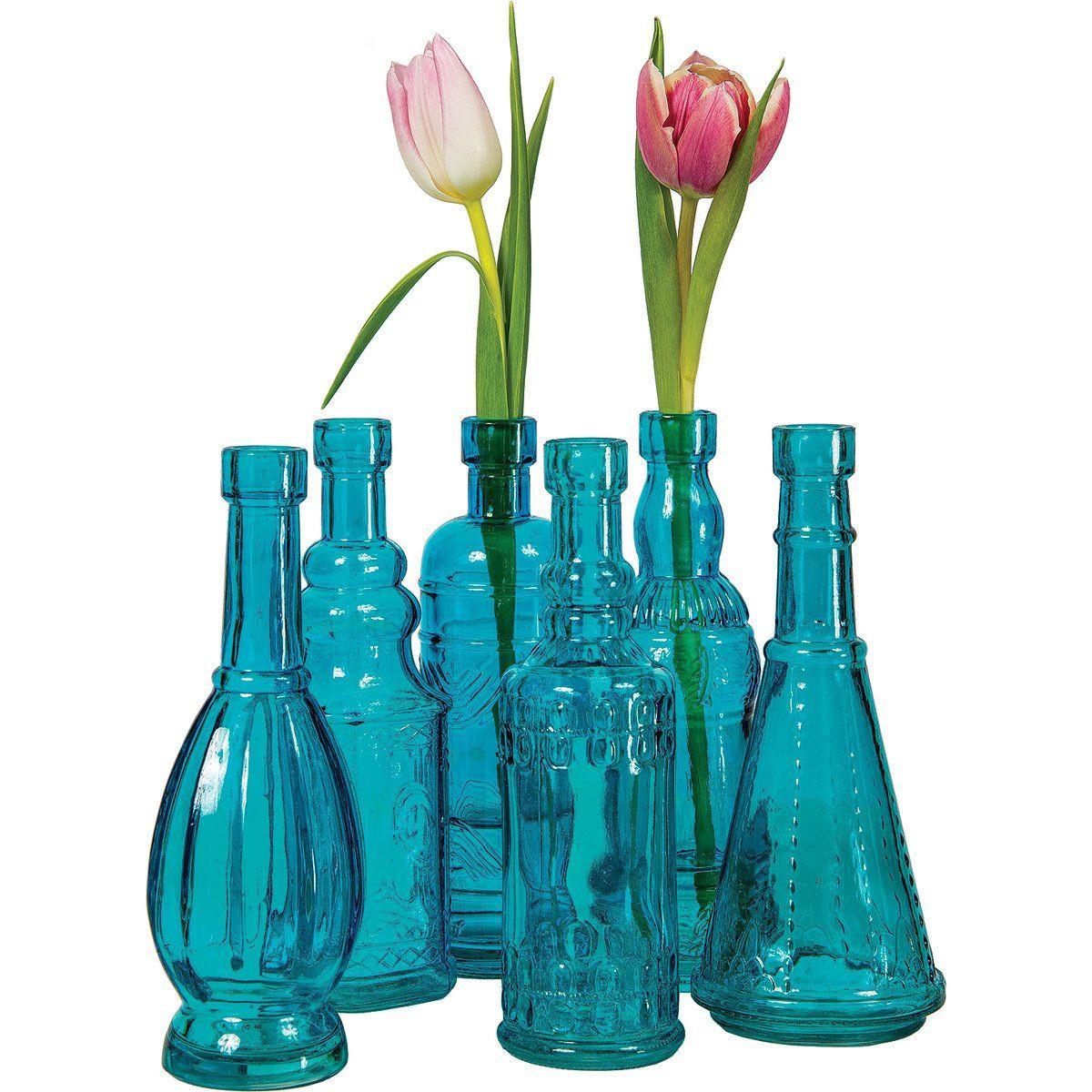 blue cut crystal vase of small crystal vase photograph luna bazaar small vintage glass bottle for small crystal vase photograph luna bazaar small vintage glass bottle set 7 inch turquoise blue of