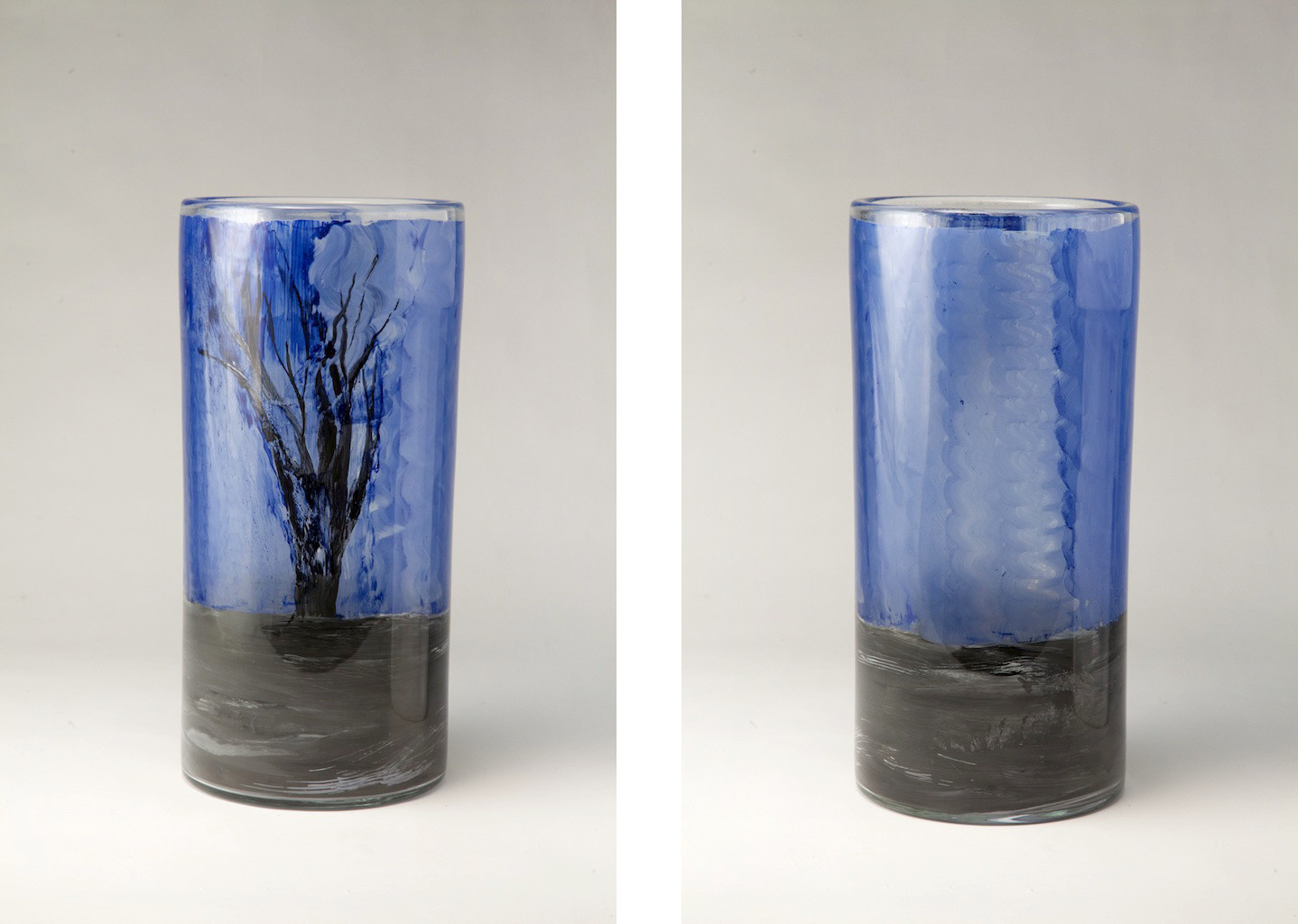 blue cylinder vase of glass emily brown with tree river sky