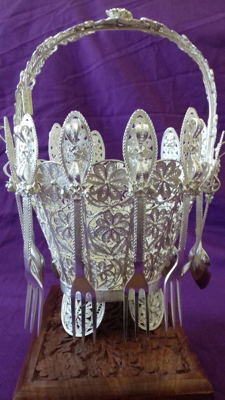 """blue glass owl vase of filigree vase antique silver basket handmade unique in dŸ""""Žzoom"""