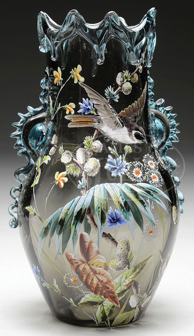 Blue John Vases for Sale Of 25 Best Vases Images On Pinterest Flower Vases Glass Art and with Regard to Moser Enameled Vase James D Julia Inc Smoke Colored Glass with Applied Blue Crystal Rigaree to Edge Of Vase and Wishbone Decoration Around top
