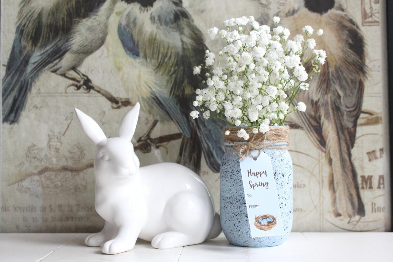 blue mason jar vase of speckled robins egg mason jar throughout speckled mason jar and bunny