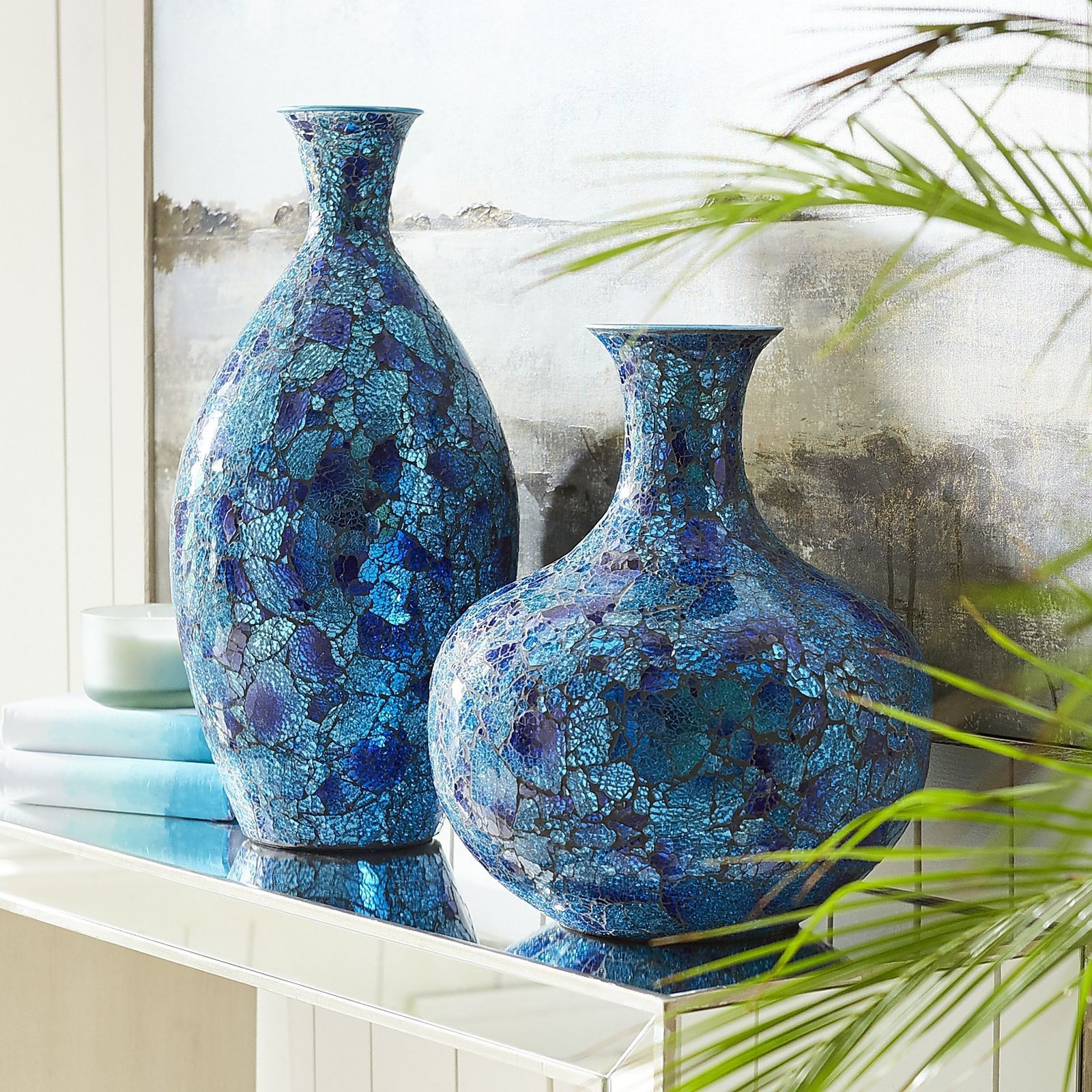 blue mosaic vase of the splendor of the sea is captured in our dazzling iron and glass for the splendor of the sea is captured in our dazzling iron and glass mosaic vases with splendid peacock blues and greens theyre gorgeous on their own and