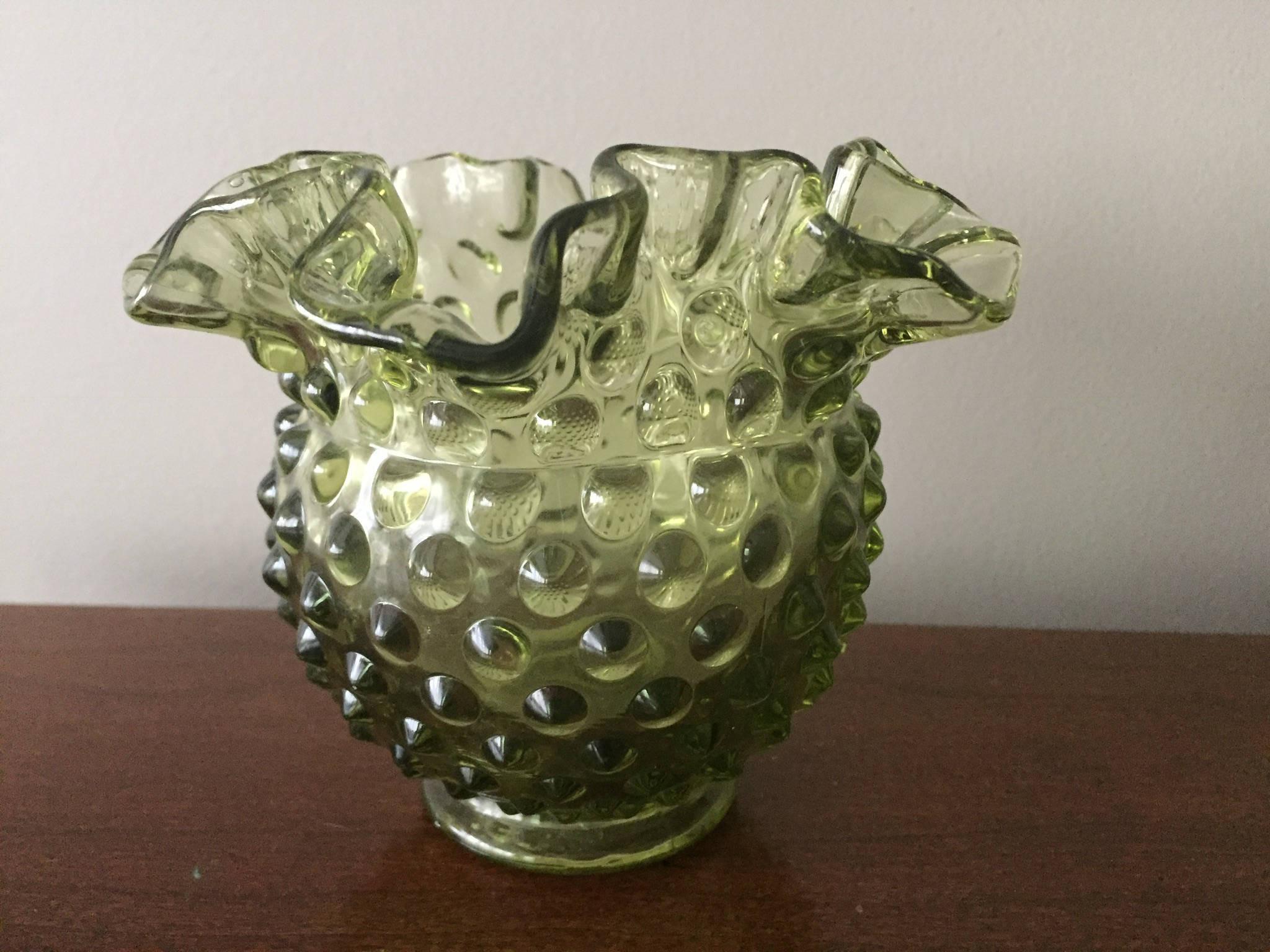 "blue opalescent hobnail vase of vintage fenton hobnail vase ruffle top green glassware etsy with dŸ""Žzoom"