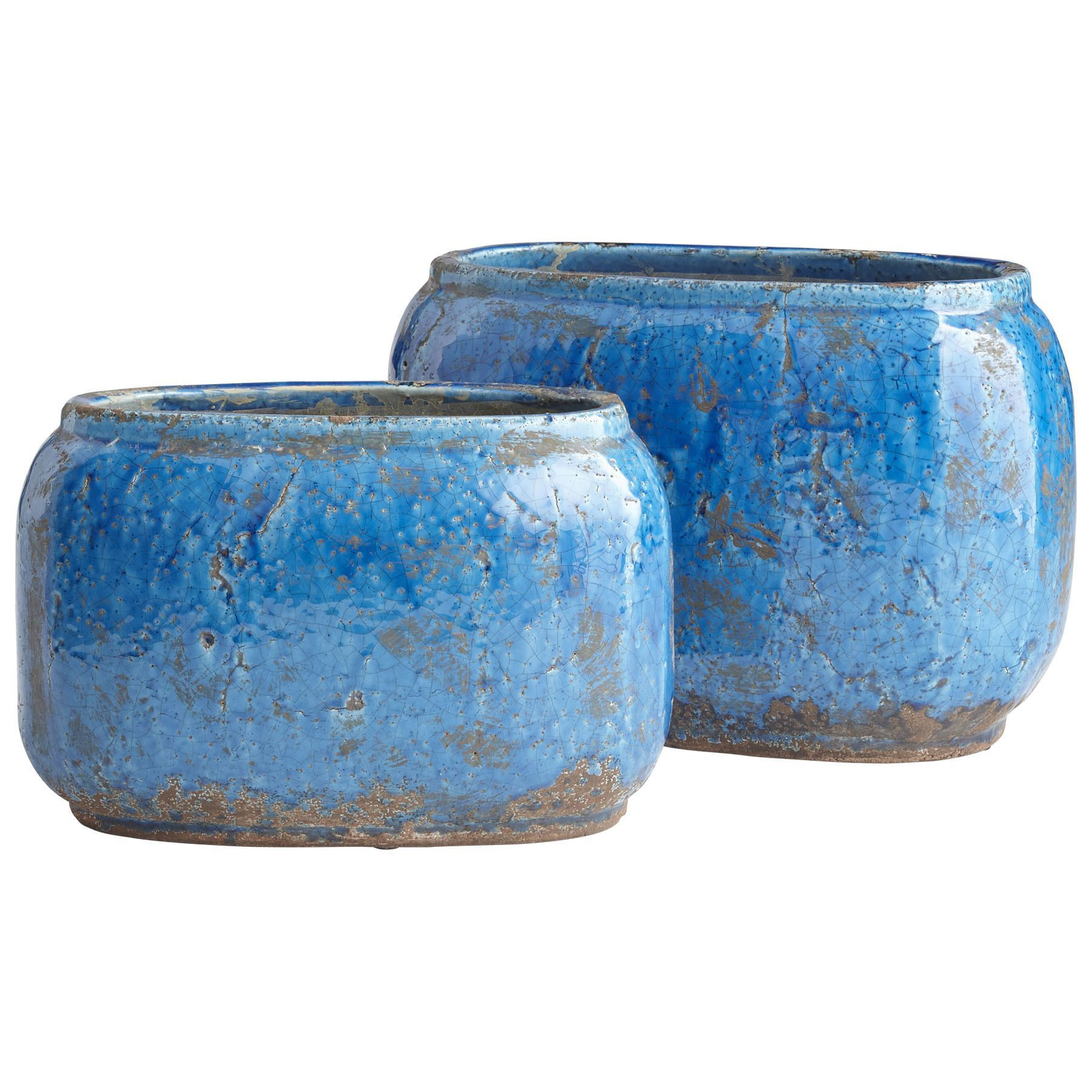 Blue Terracotta Vase Of Ventura Planter Large Vases Bowls Trays Platters Of Chez Intended for Large Ventura Planter is Constructed Of Terracotta with A Blue Glaze Finish