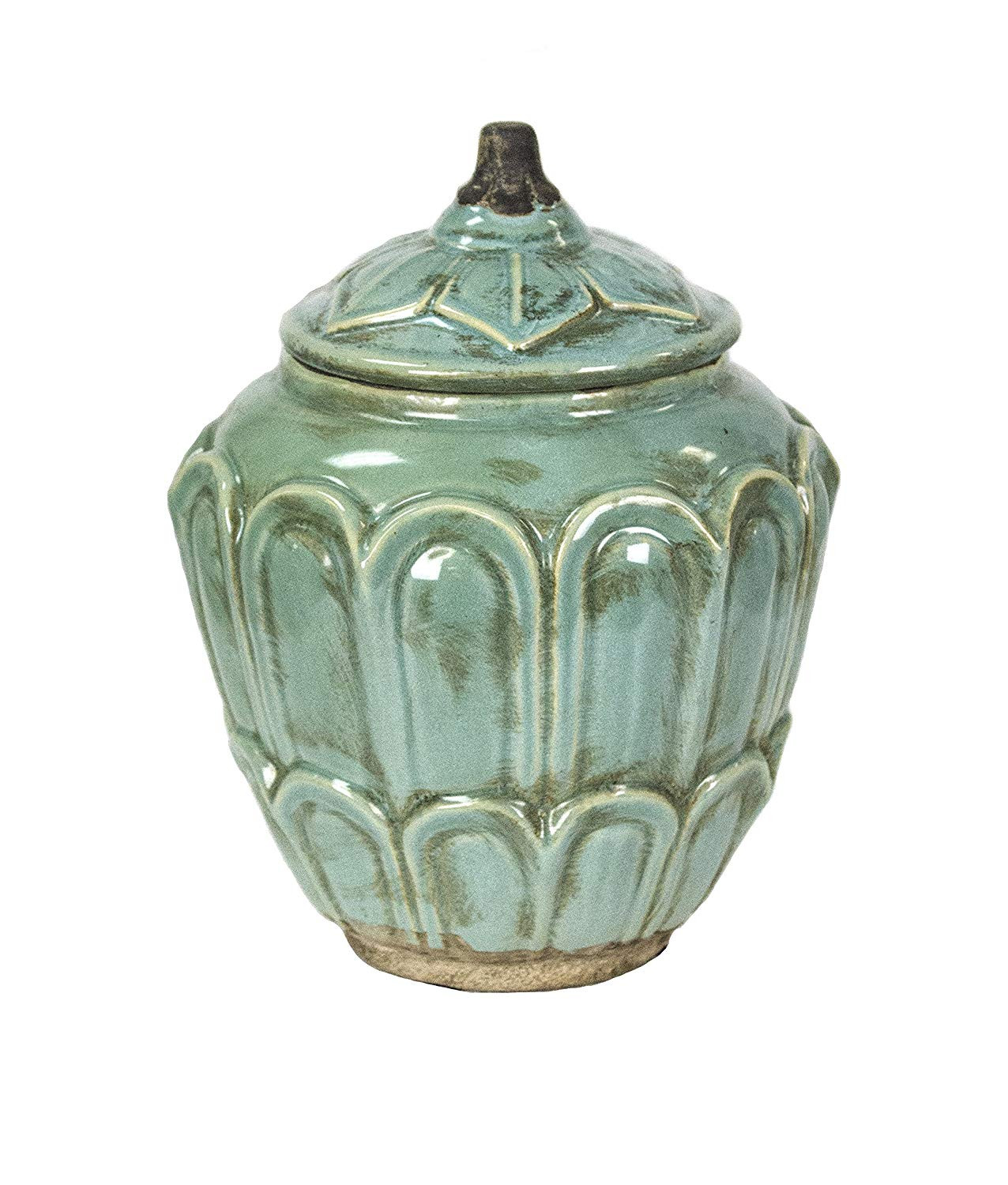 blue vase books of amazon com sagebrook home 11478 decorative ceramic covered jar 7 5 inside amazon com sagebrook home 11478 decorative ceramic covered jar 7 5 x 7 5 x 10 5 antique blue home kitchen