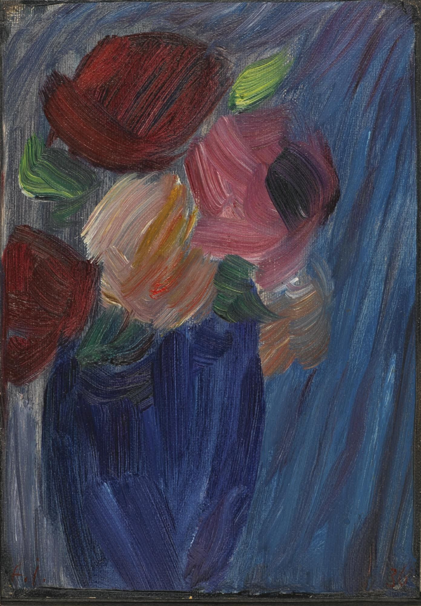 blue vase flowers painting of alexej von jawlensky 1864 1941 rosen in ultramarinblauer vase pertaining to alexej von jawlensky 1864 1941 rosen in ultramarinblauer vase 1936 25 x 175 cm